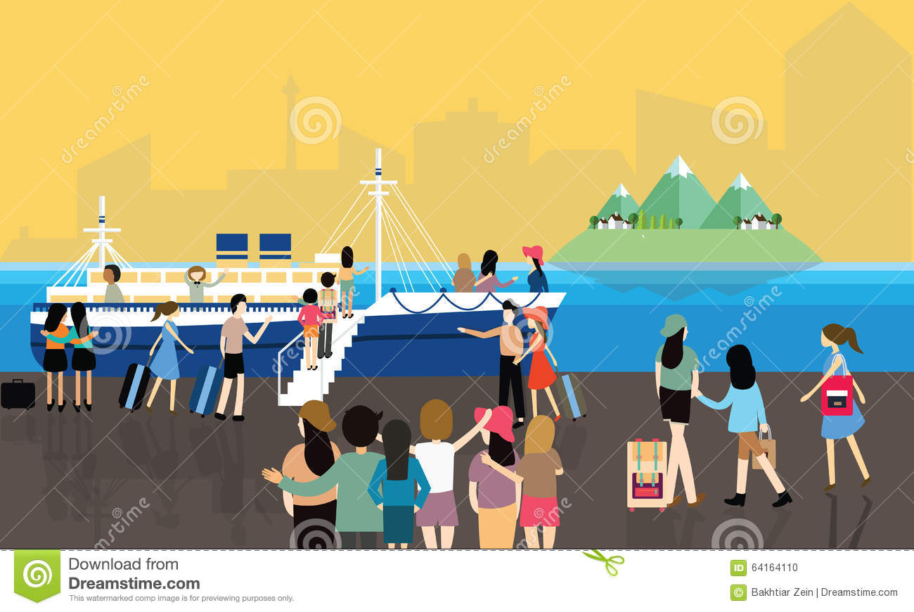 Sea Port Busy Activities People Passenger Entering The