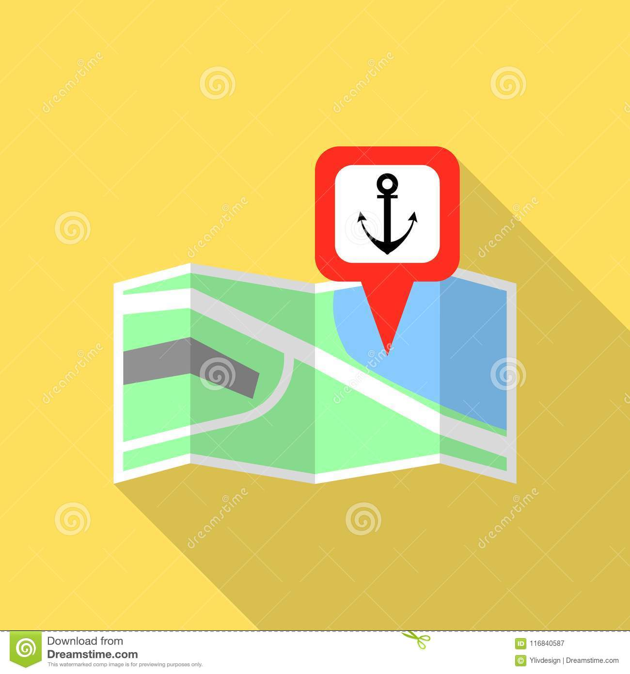 Sea port map pin icon, flat style
