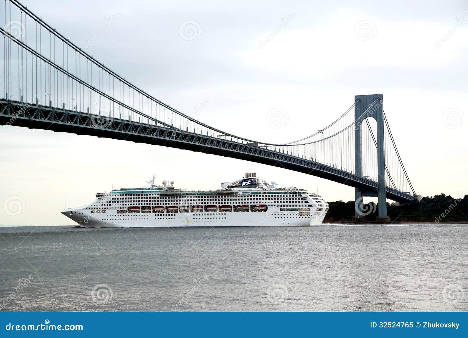 Sea Princess Cruise Ship Under Verrazano Bridge During