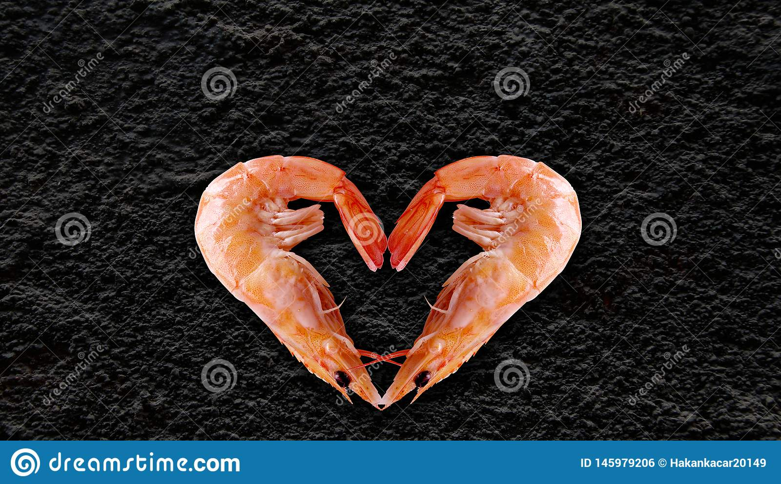 Sea products, Heart Shaped Shrimp, black background at the back to write your article.