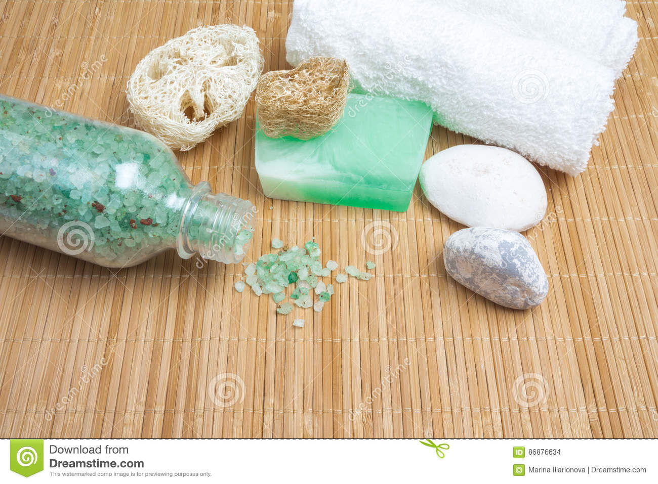 Set for spa sea salt soap sponge on wooden background