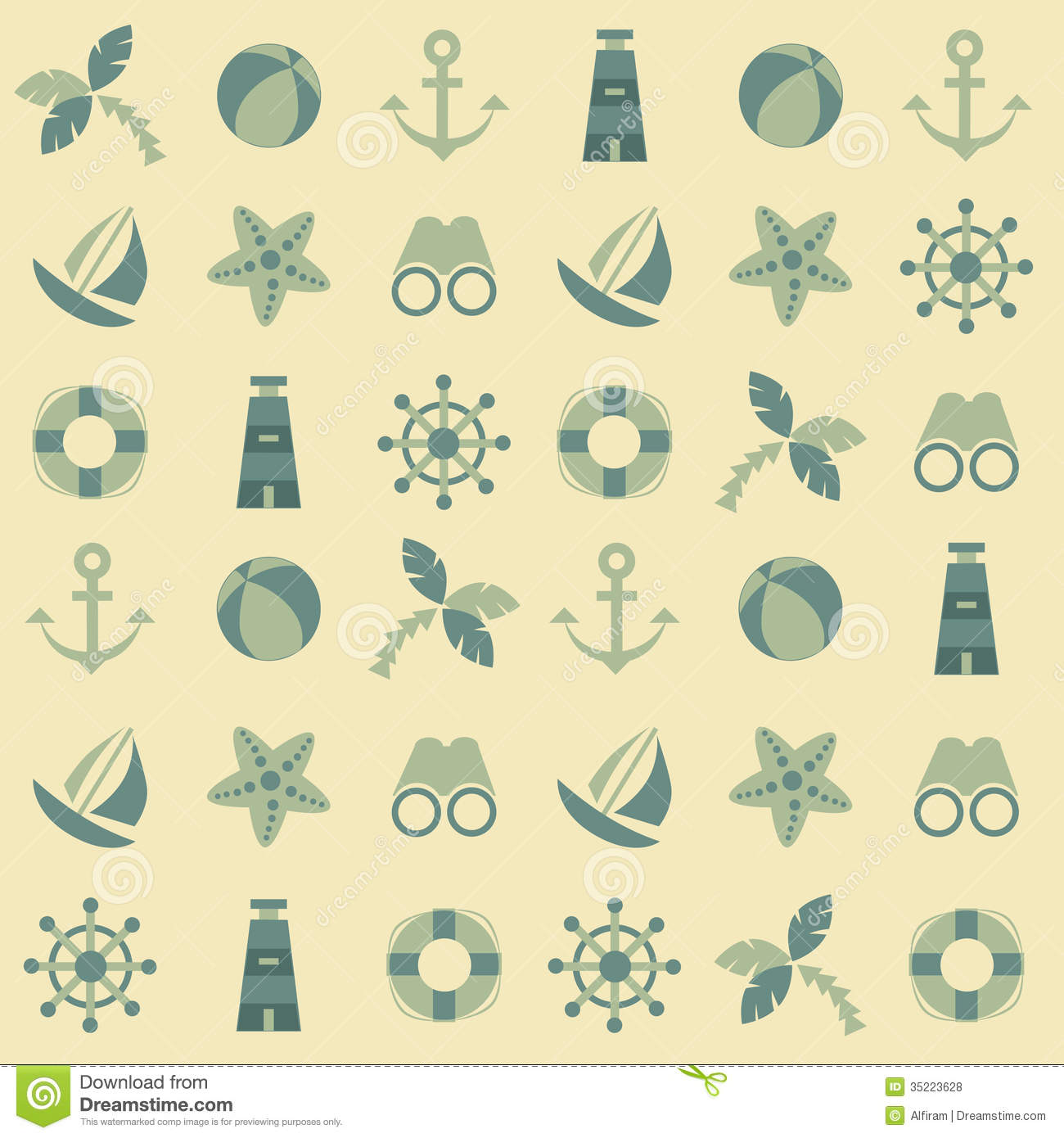 Colorful seamless pattern with sea symbols on a light background.