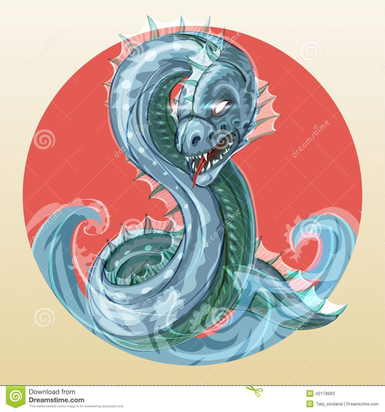 sea serpent or water dragon stock vector illustration of