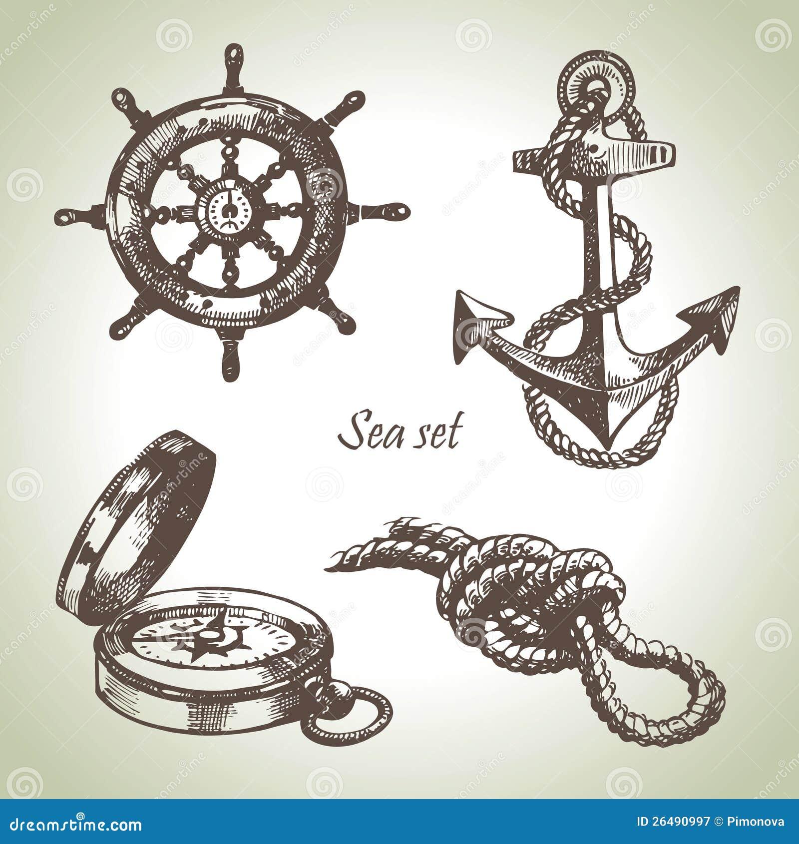 Key Elements Of Nautical Style: Sea Set Of Nautical Design Elements Stock Vector