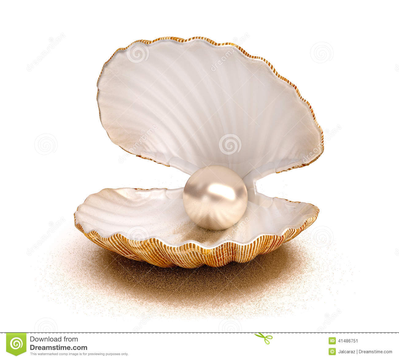Sea Shell With Pearl Stock Photo - Image: 41486751