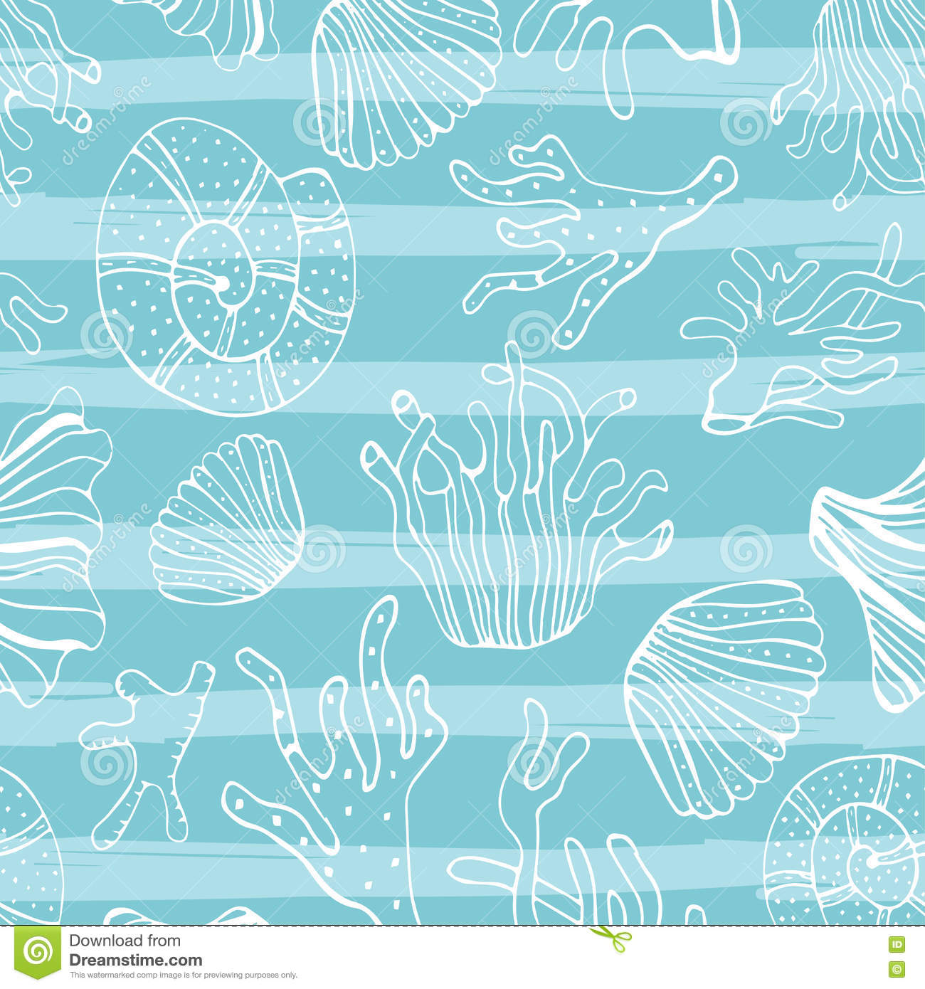 The wallpaper coloring book - Sea Shells Seastars And Corals Seamless Background Blue White Pattern For Coloring Book