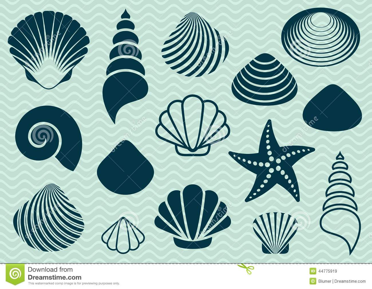 Set of various sea shells and starfish silhouettes.