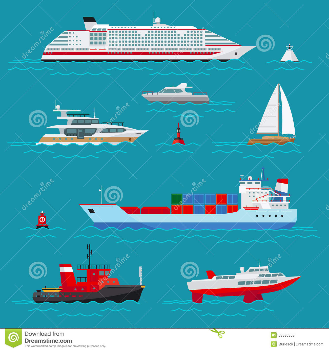 Sea Ships Flat Icons Stock Vector - Image: 53386358