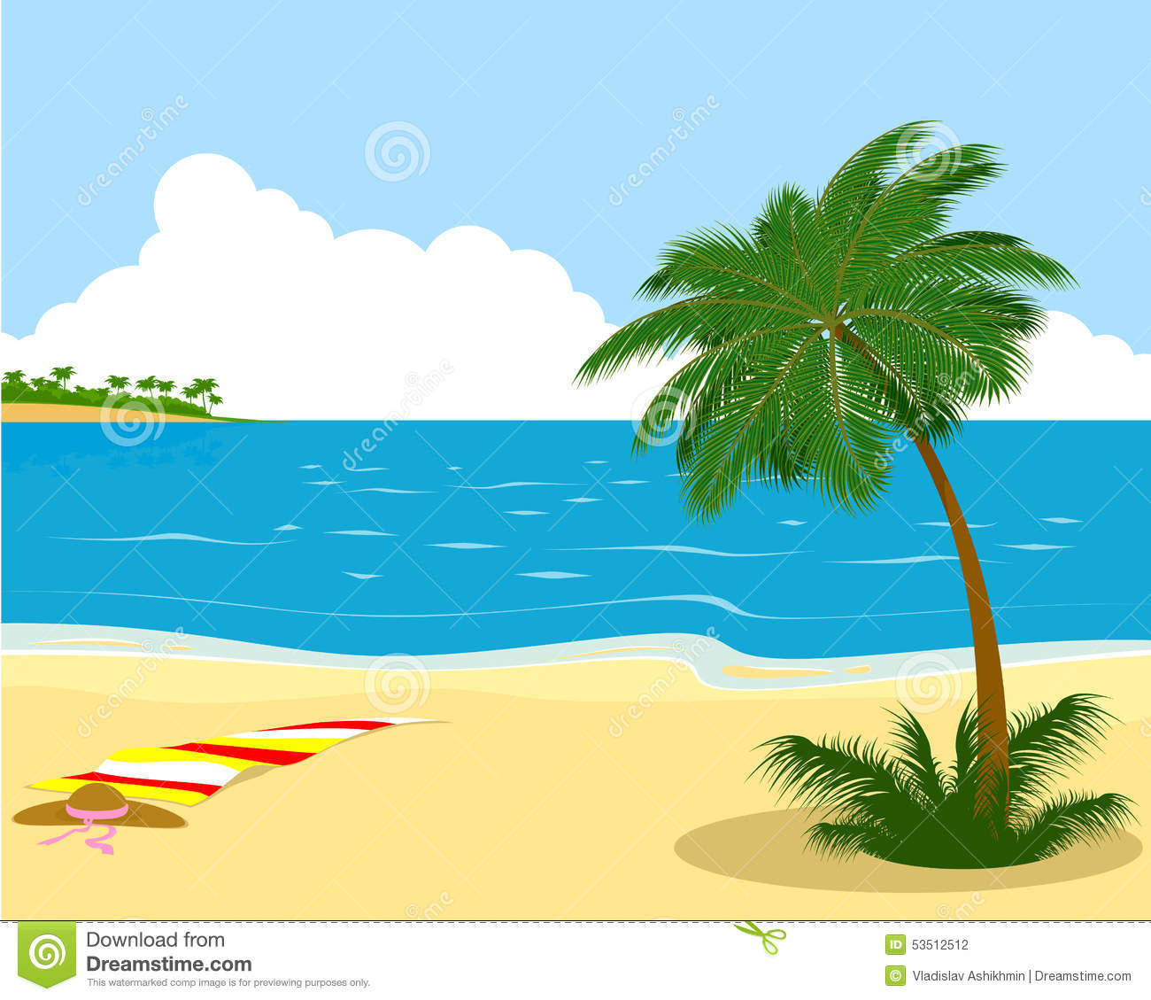 sea shore with palm tree stock vector illustration of