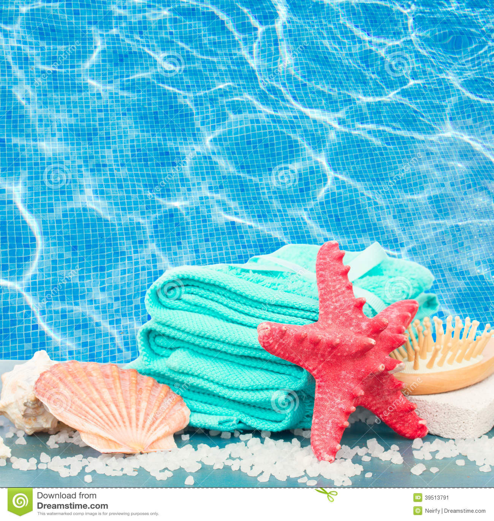 Sea spa setting by pool side