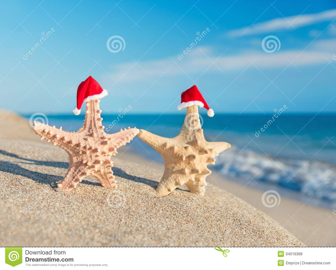 download sea stars couple in santa hats walking at beach holiday concept stock photo - Beach Christmas Cards