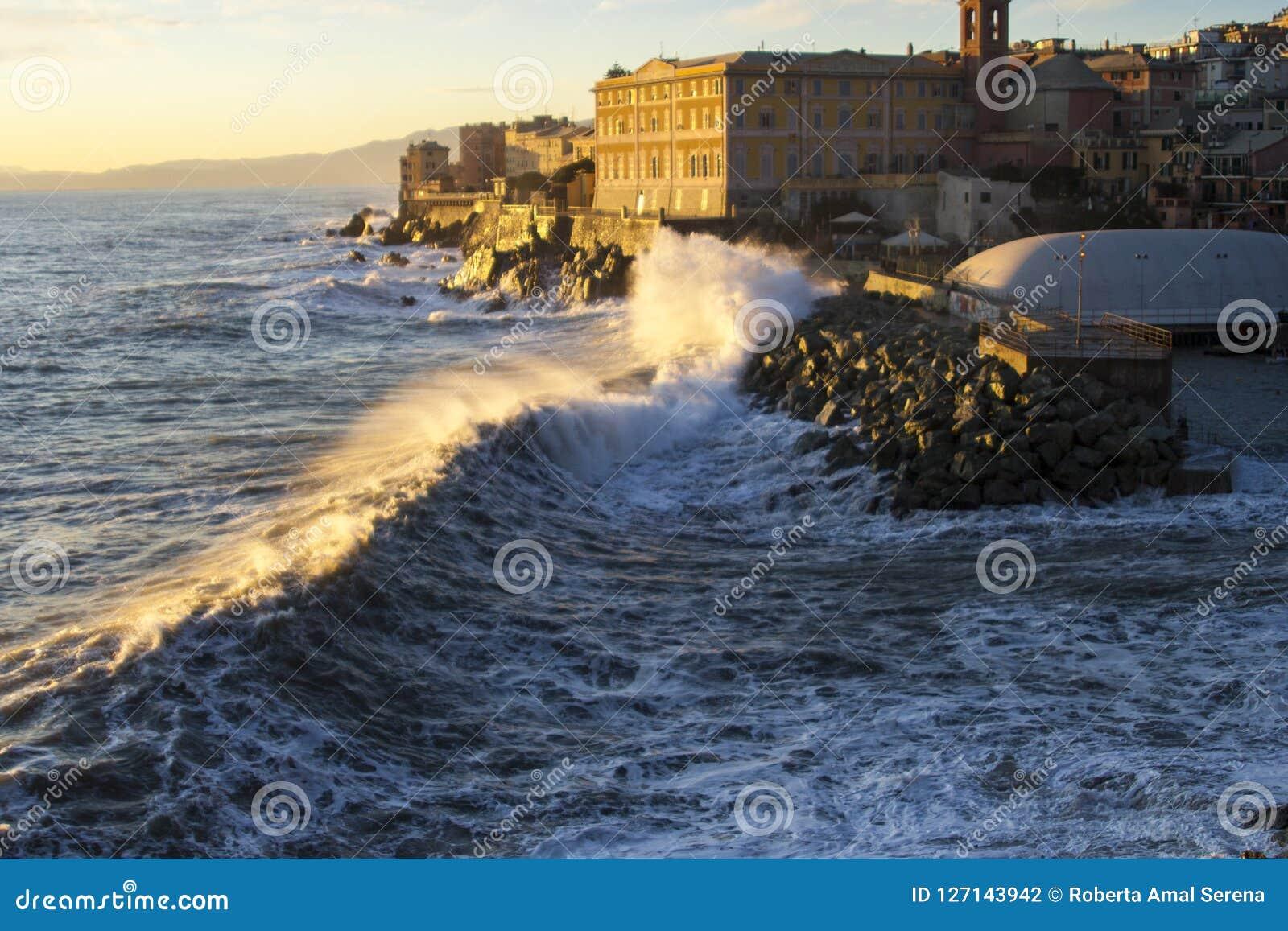 A sea strorm in Genova, Italy in december 2011