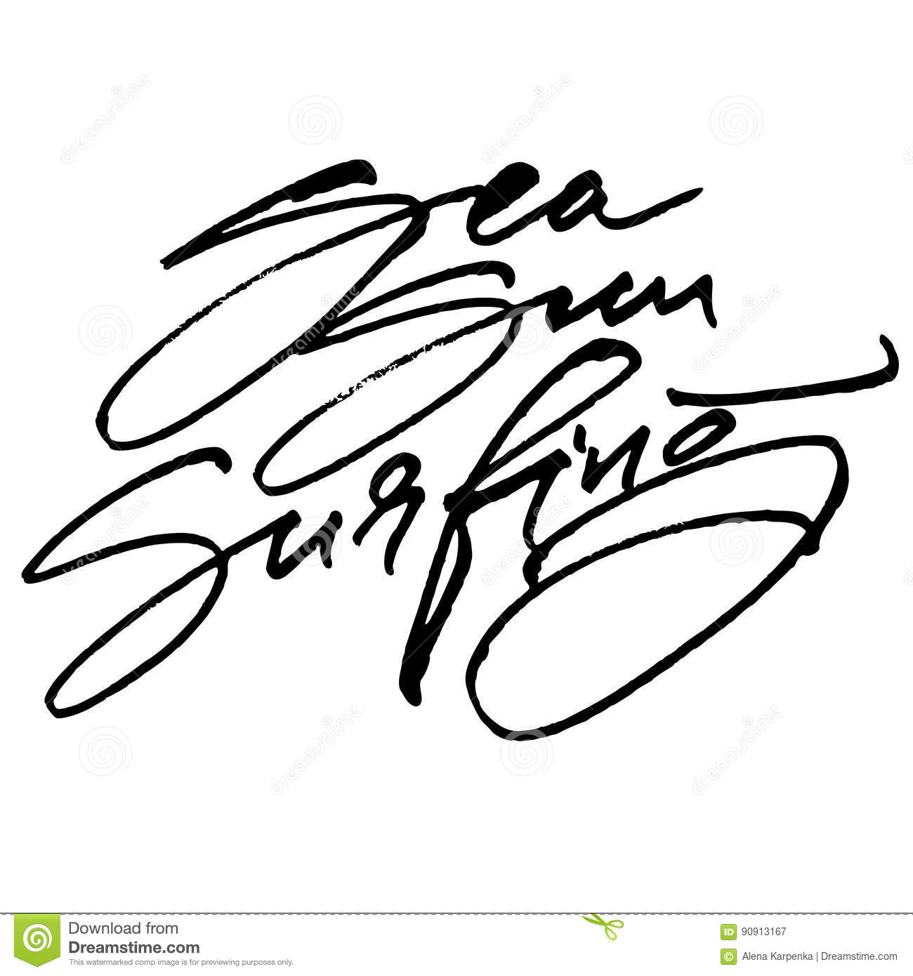 Sea sun surfing modern calligraphy hand lettering for
