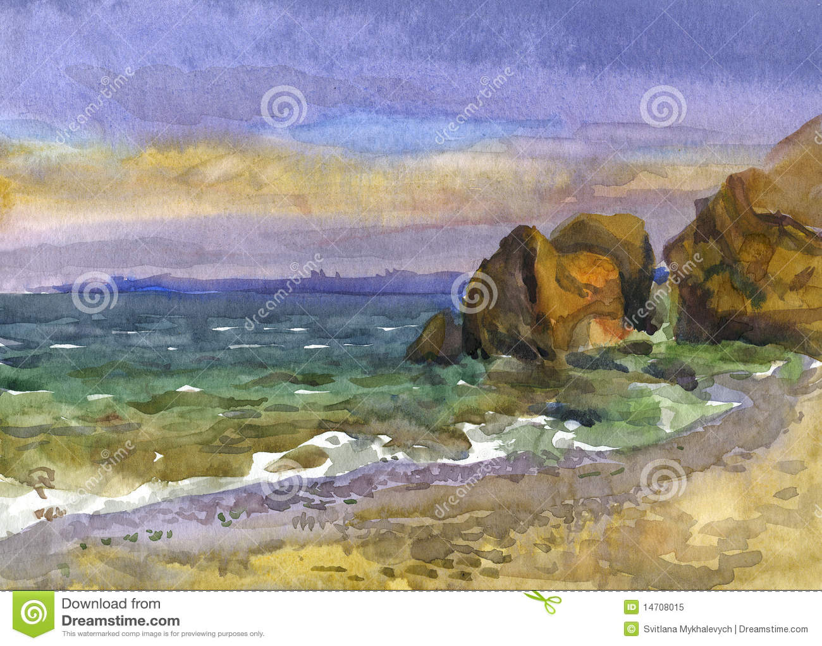 Sea sunset. Watercolor.