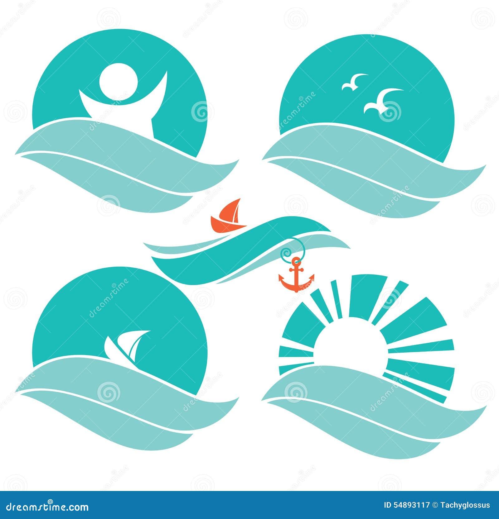 Sea Symbols Stock Vector - Image: 54893117