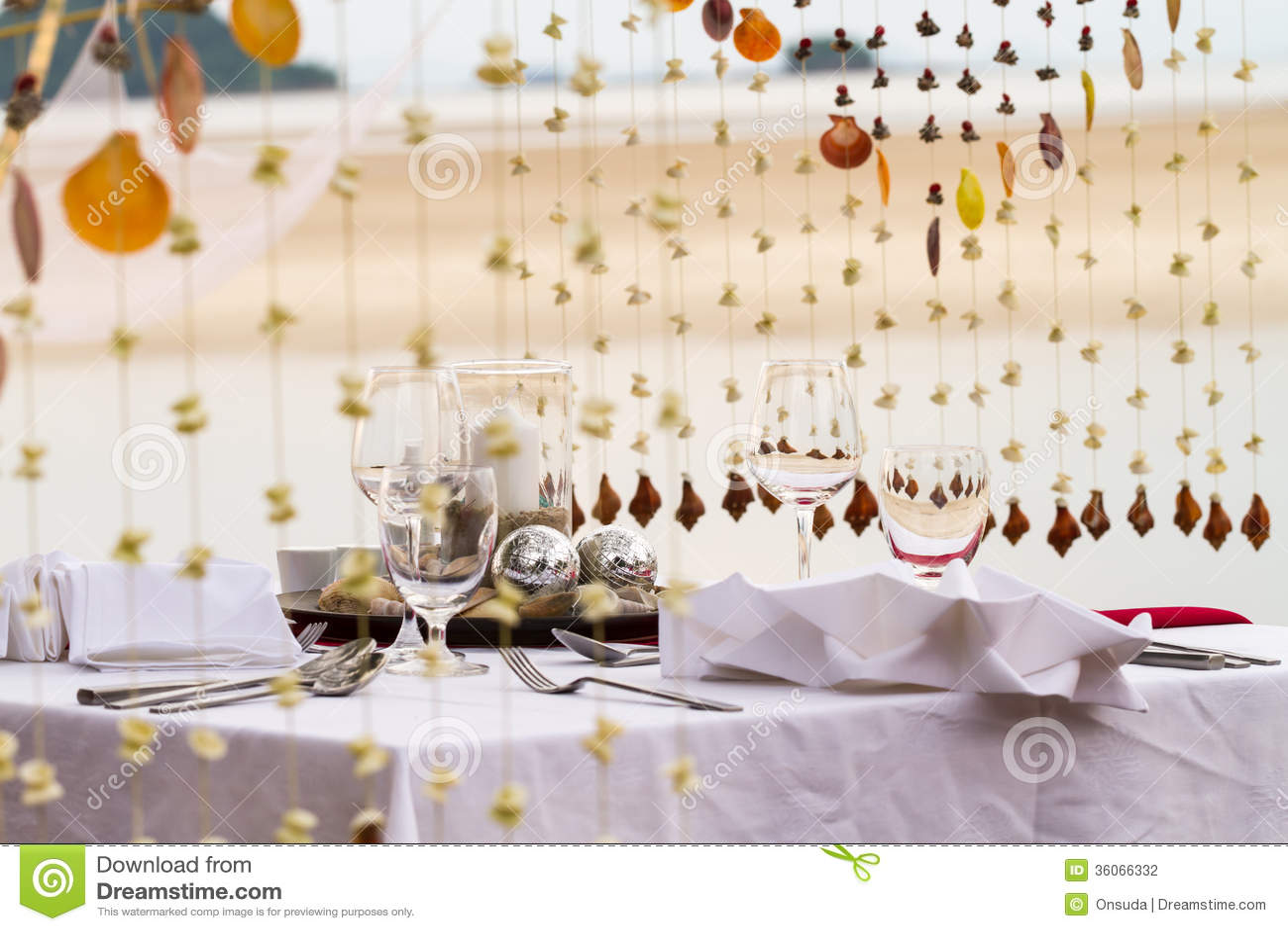 Sea Theme Table Setup For Dinner Stock Photography Image