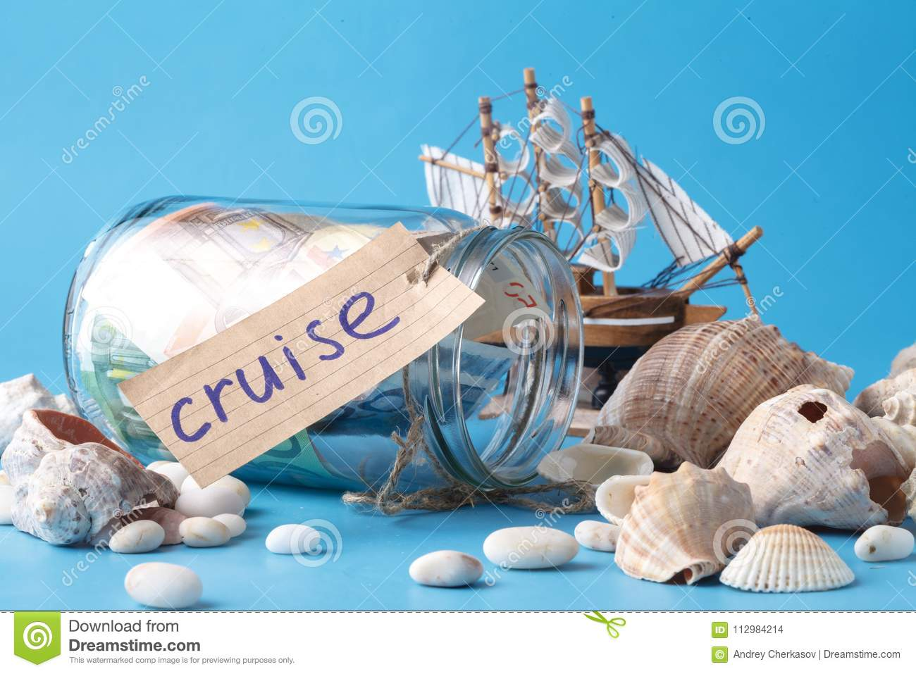 Sea travel in vacation concet with shell and ship