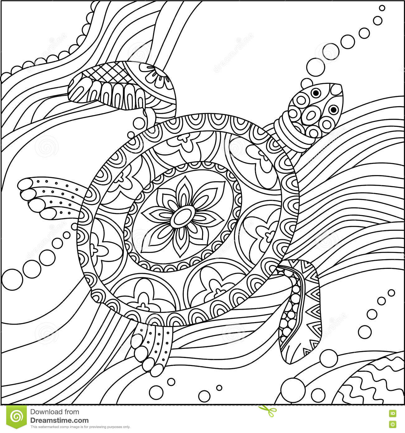 - Sea Turtle Coloring Page Stock Vector. Illustration Of Drawing