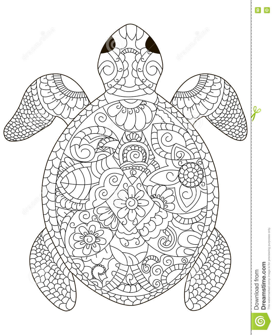 sea turtle coloring vector for adults stock vector image 81153943