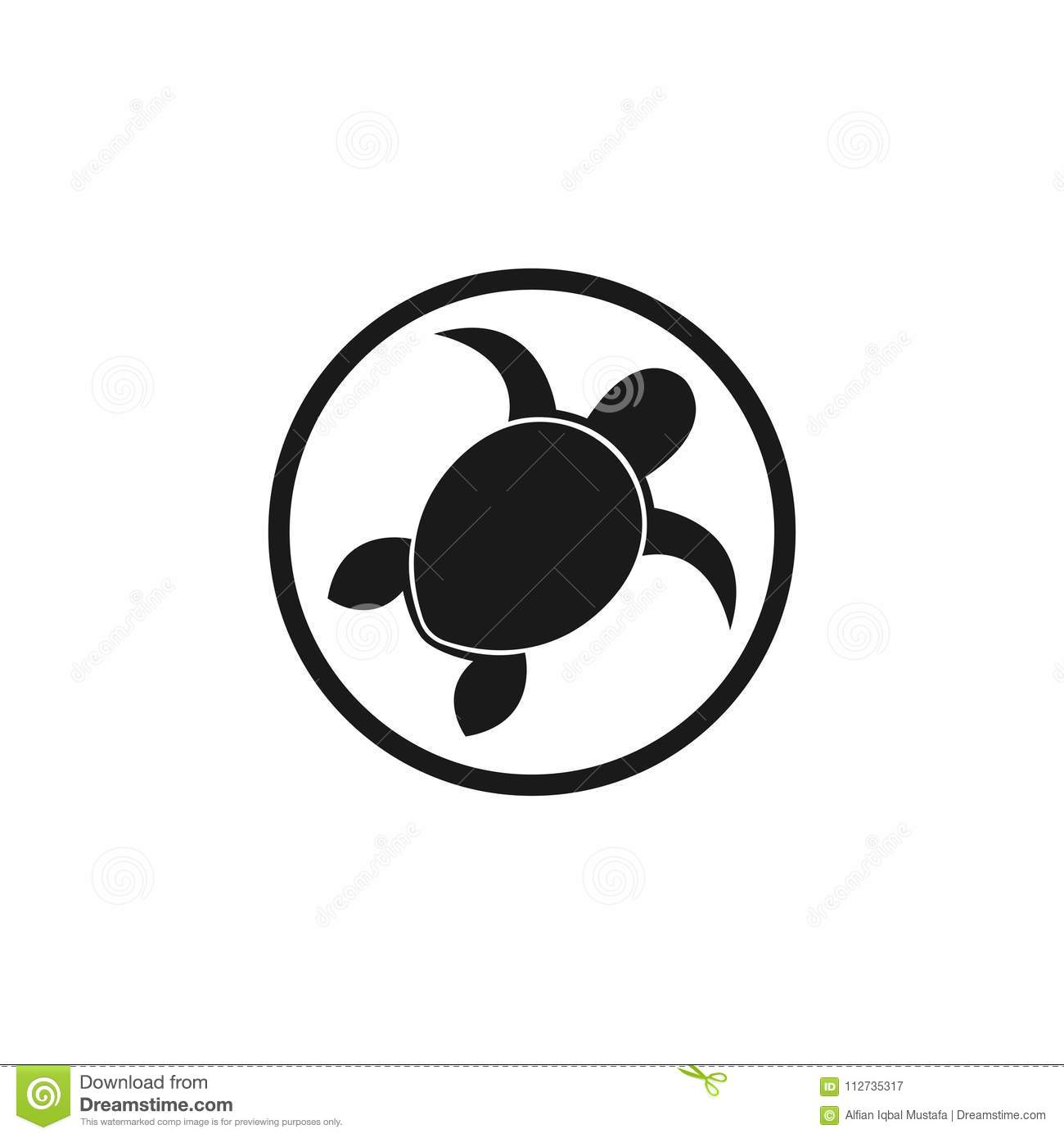 Sea Turtle Logo Template Icon Design Elements Black And White On