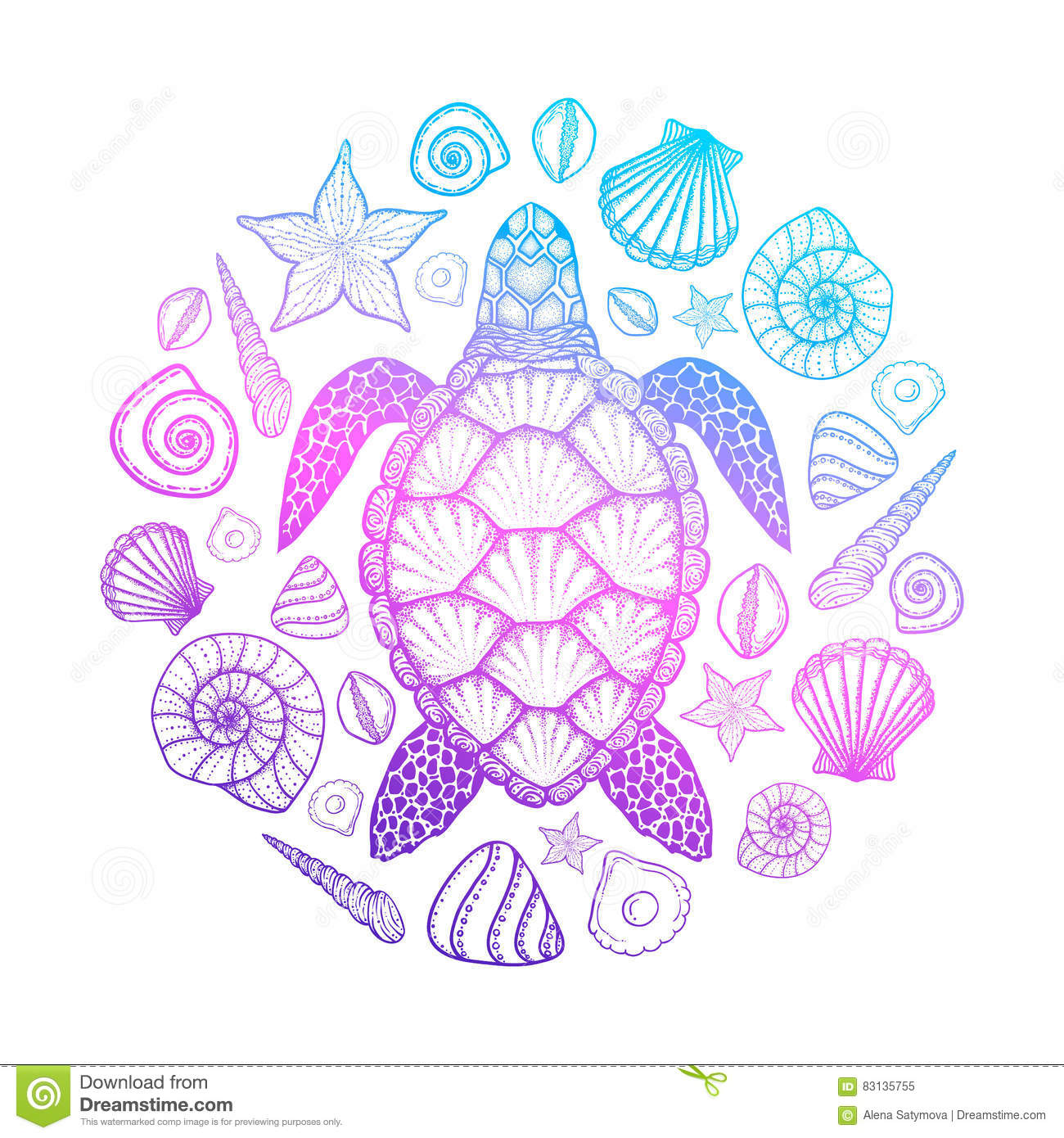 Sea Turtle And Shells In Line Art Style Hand Drawn Vector