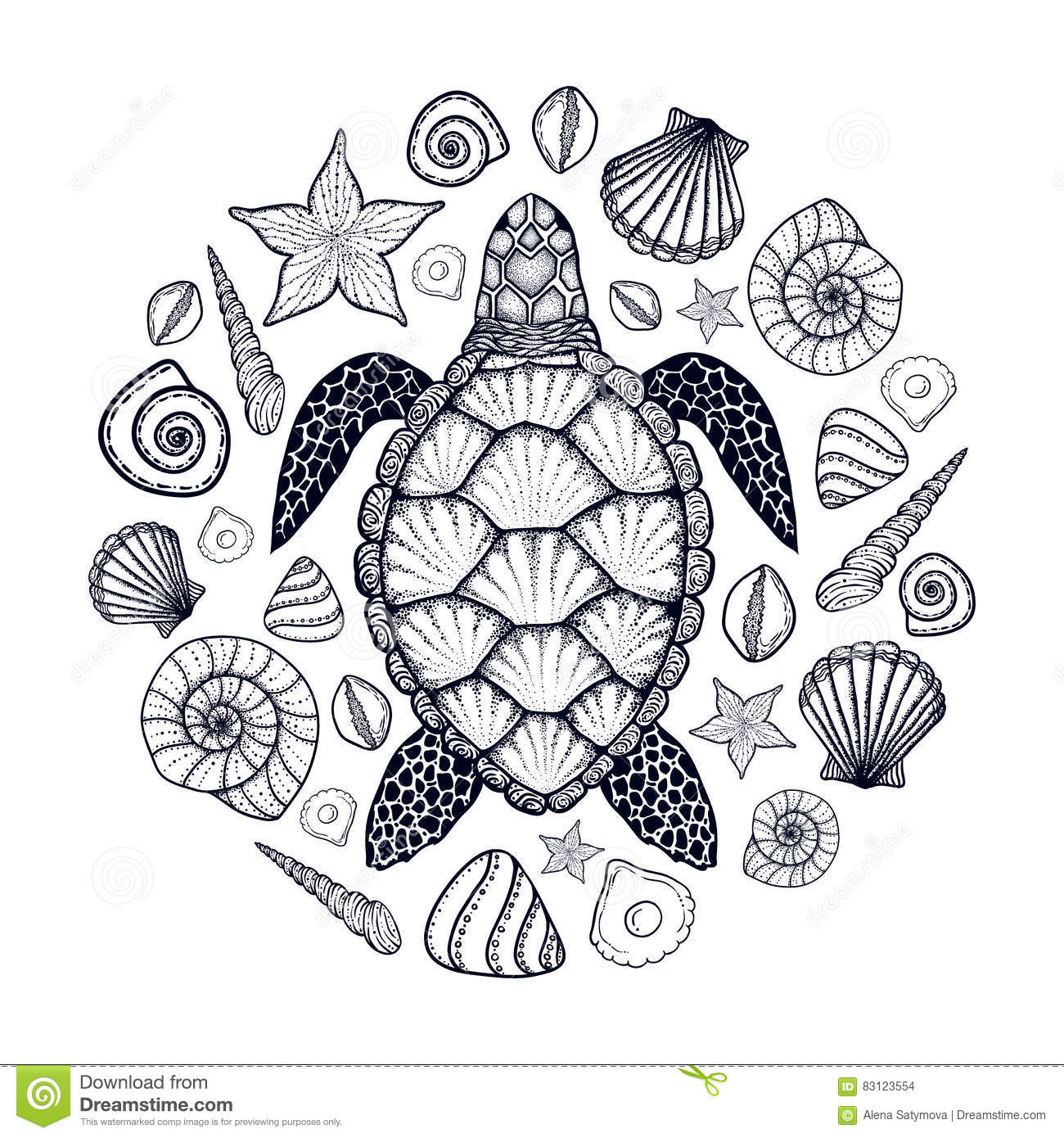 Line Art Design Illustration : Sea turtle and shells in line art style hand drawn vector