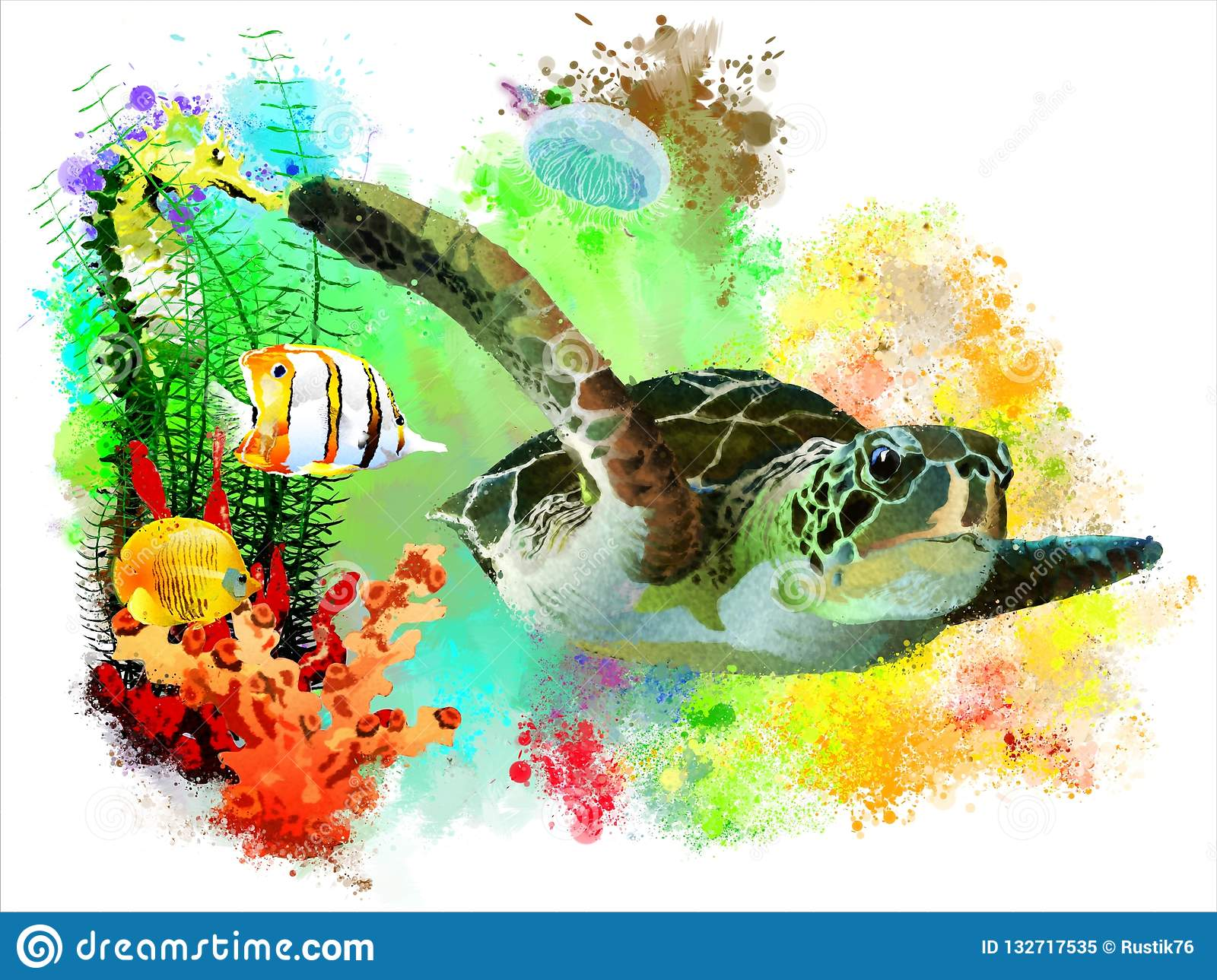 Sea turtle and tropical fish on abstract watercolor background.