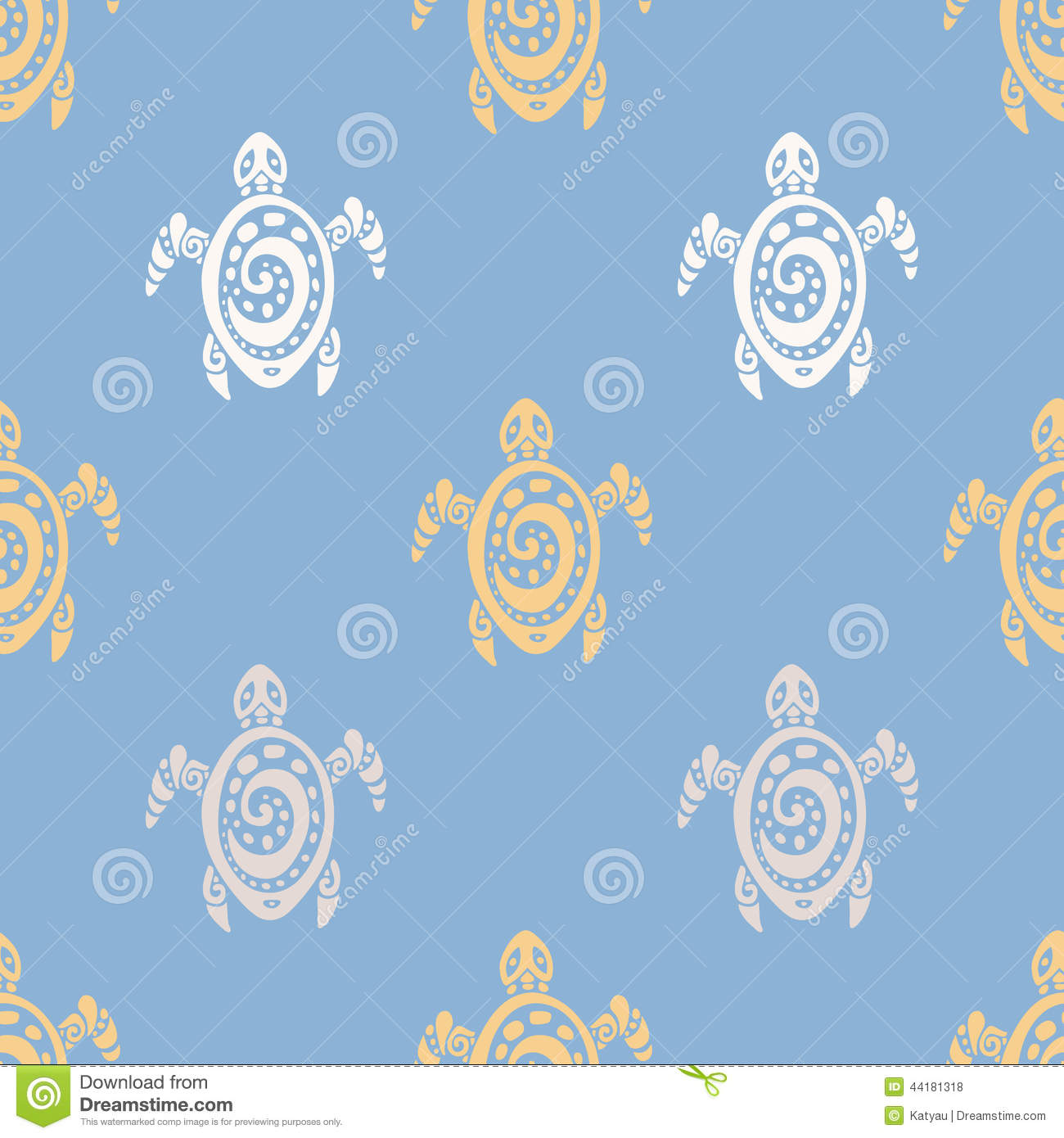 Sea Turtles. Seamless Vector Pattern. Stock Vector - Image