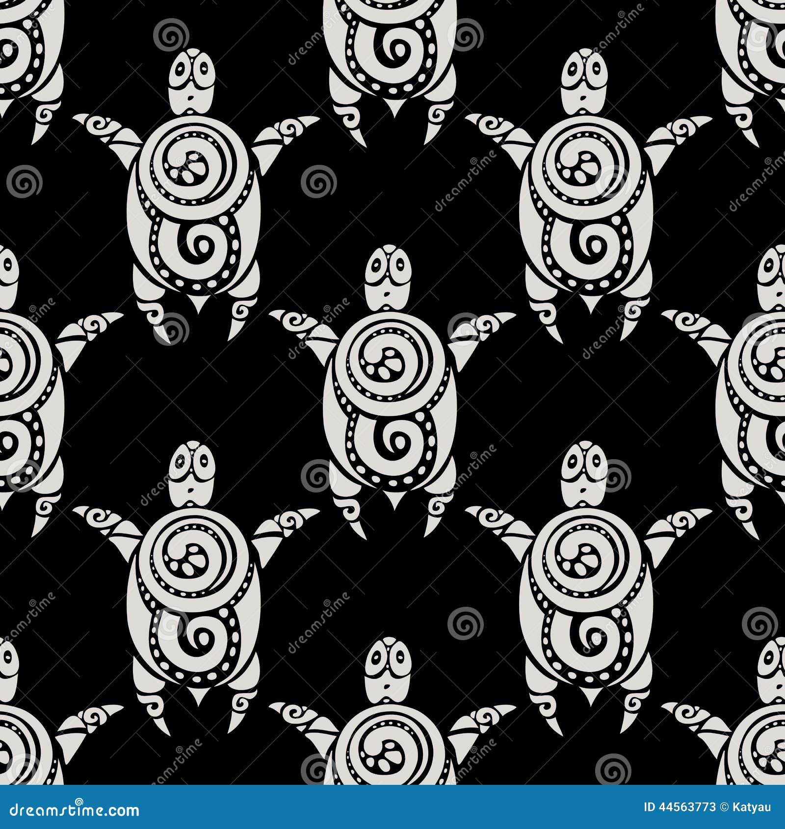 Polynesian Tribal Wallpaper: Sea Turtles. Seamless Vector Pattern. Stock Vector