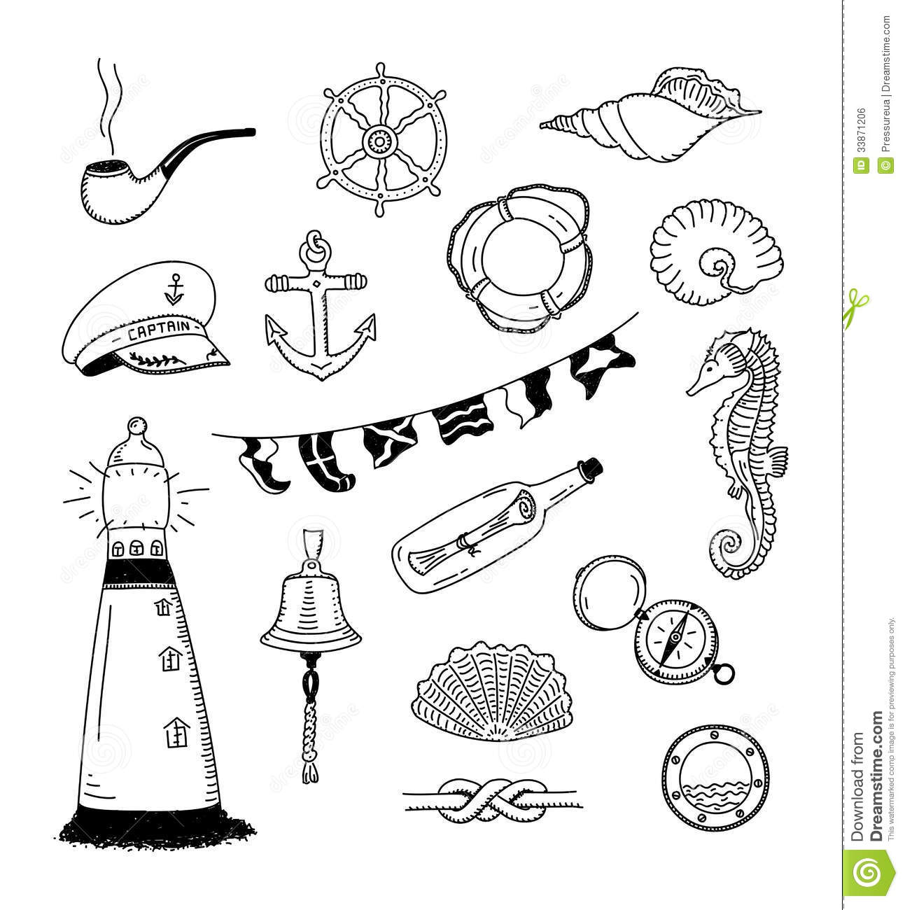 Hand Drawn Vector Illustration Of Different Sea And Sailor Doodles