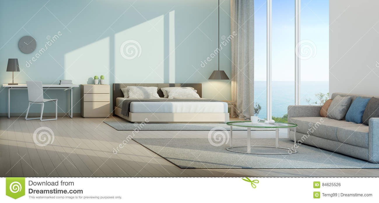 Sea View Bedroom And Living Room In Luxury Beach House Stock