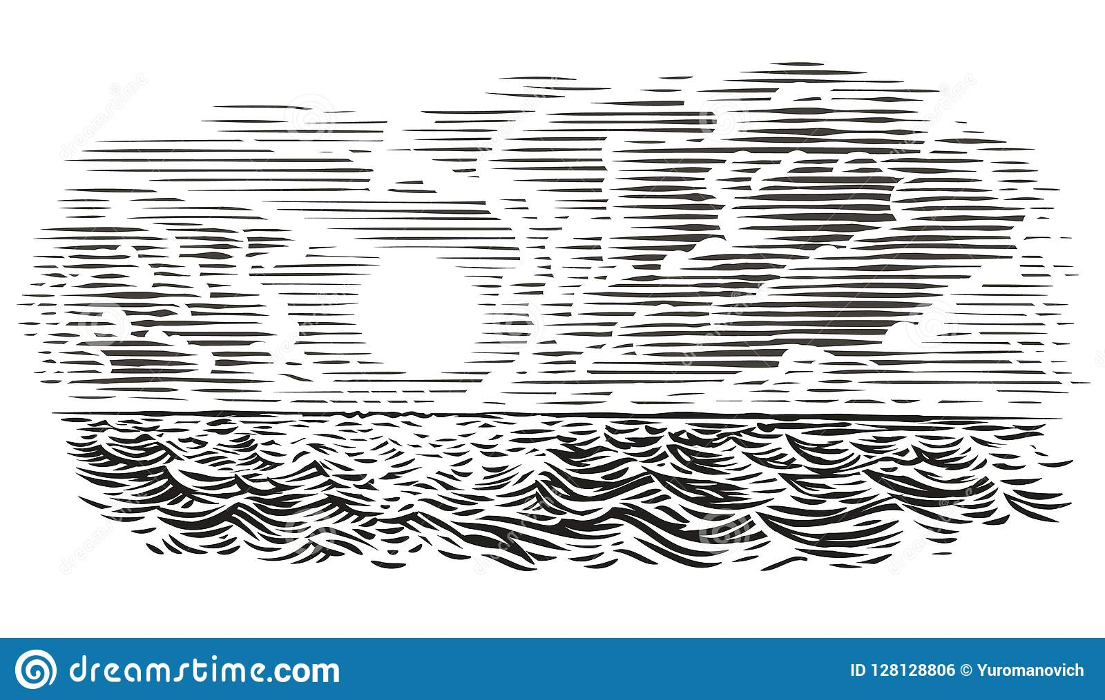 Sea view engraving style illustration. Vector, isolated, layered.