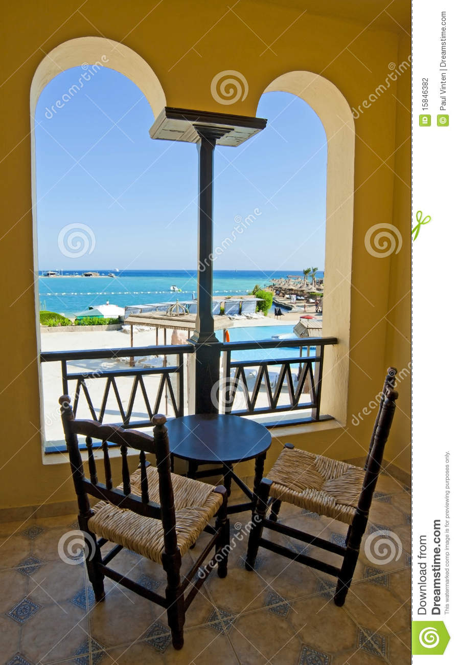 Hotel Room Photography: Sea View From A Hotel Room Balcony Stock Photography
