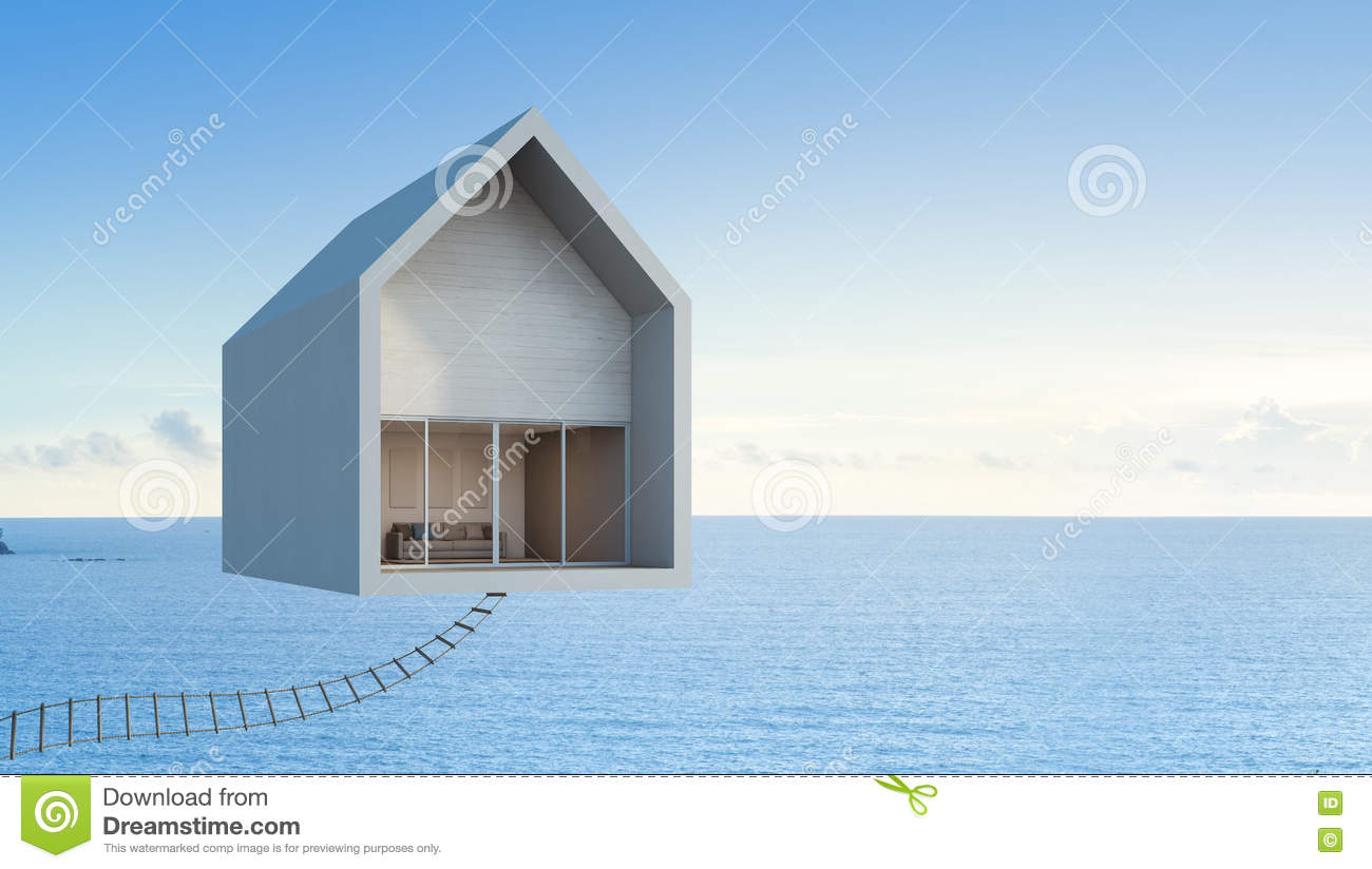 Sea view house floating in the sky architectural concept art