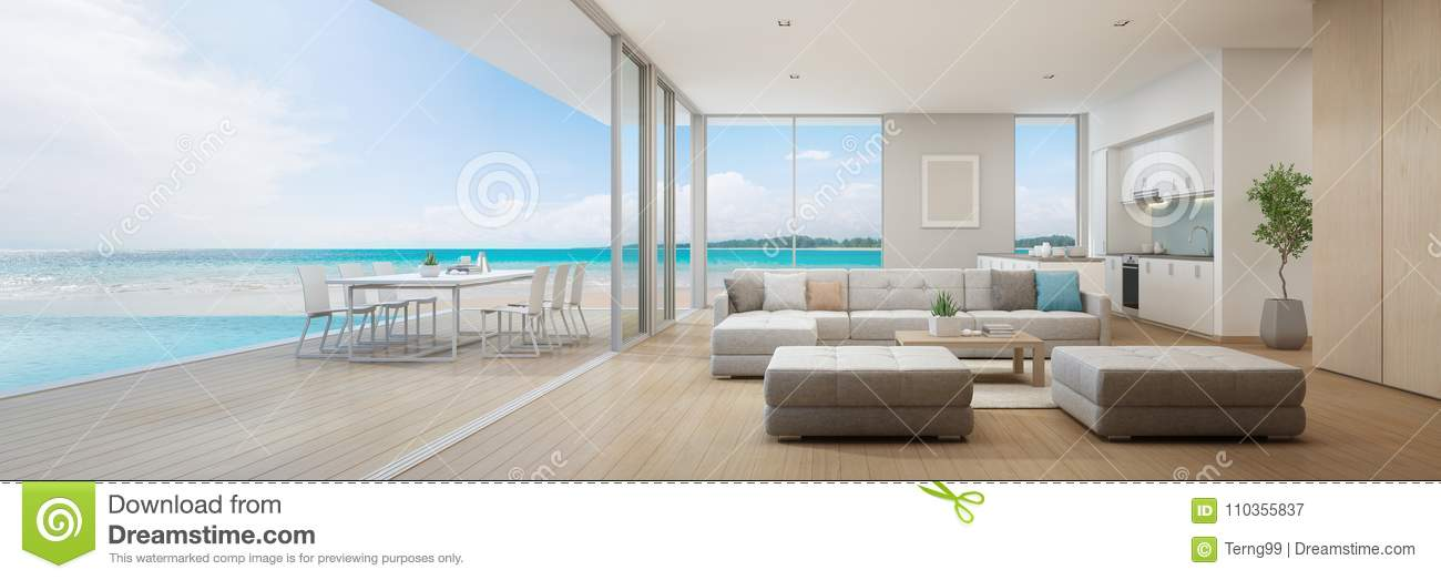 Sea view kitchen dining and living room of luxury beach House with swimming pool in living room