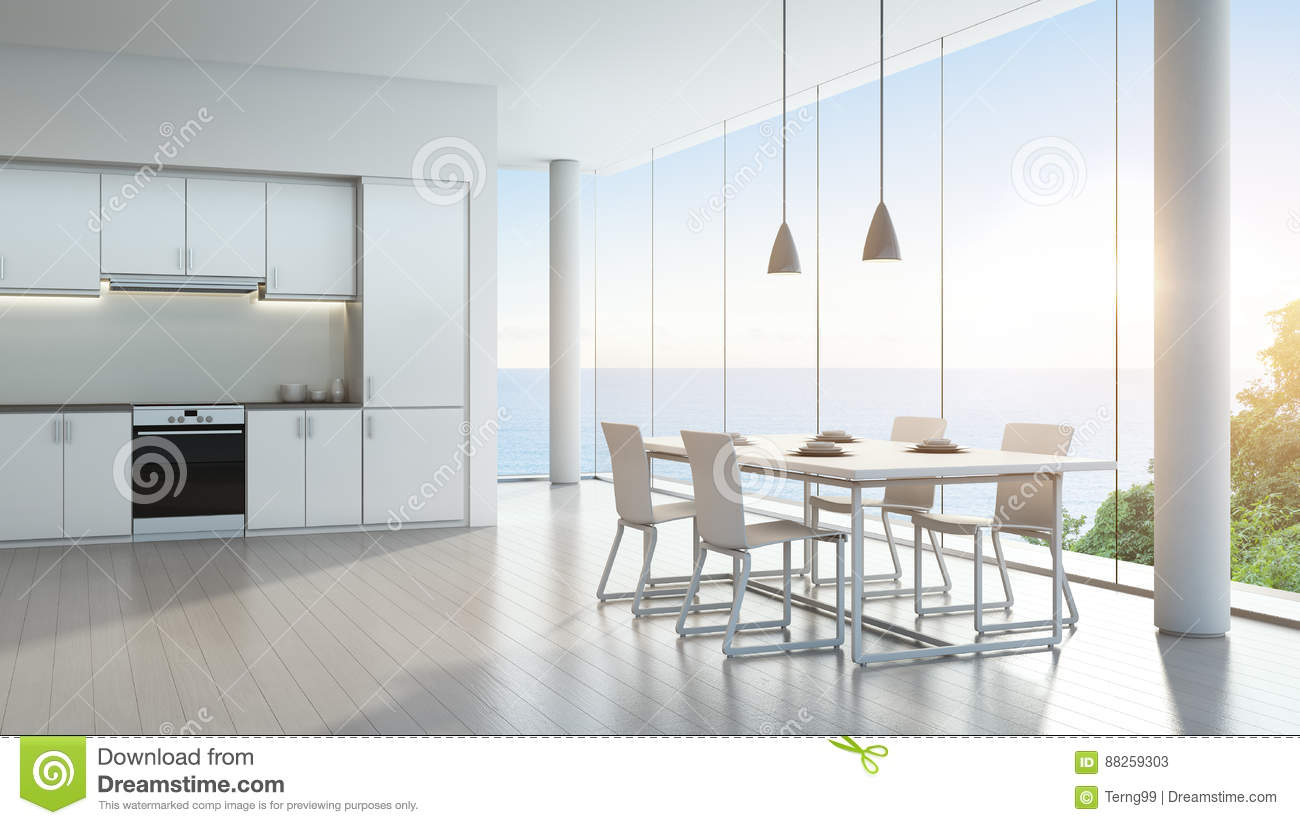 Sea View Kitchen And Dining Room In Luxury Vacation Home With Modern ...