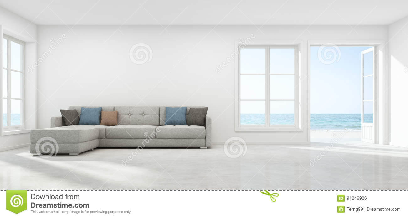 Sea View Living Room With Empty Wall In Modern Beach House ...