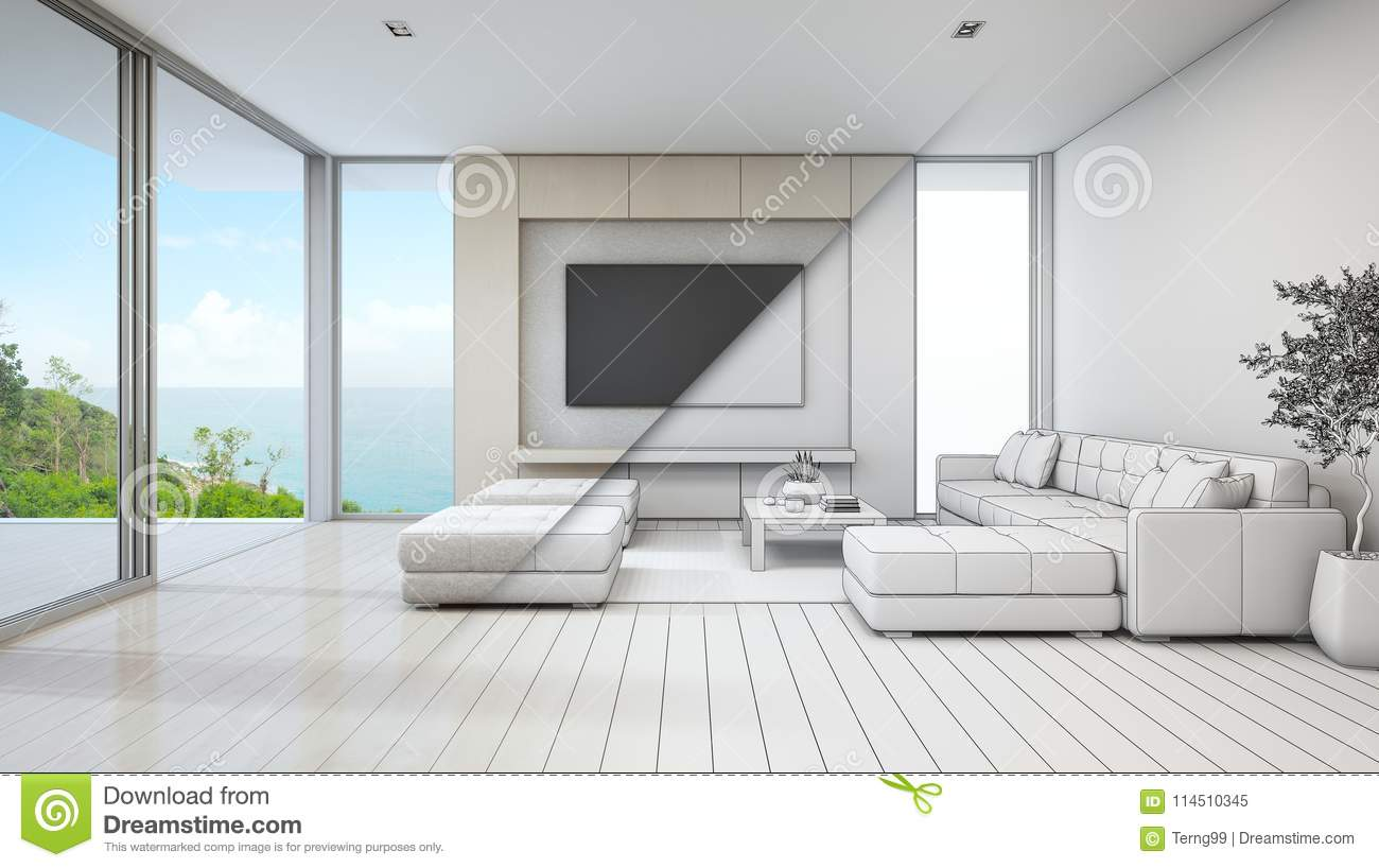 Sea view living room of luxury beach house with glass door and wooden terrace