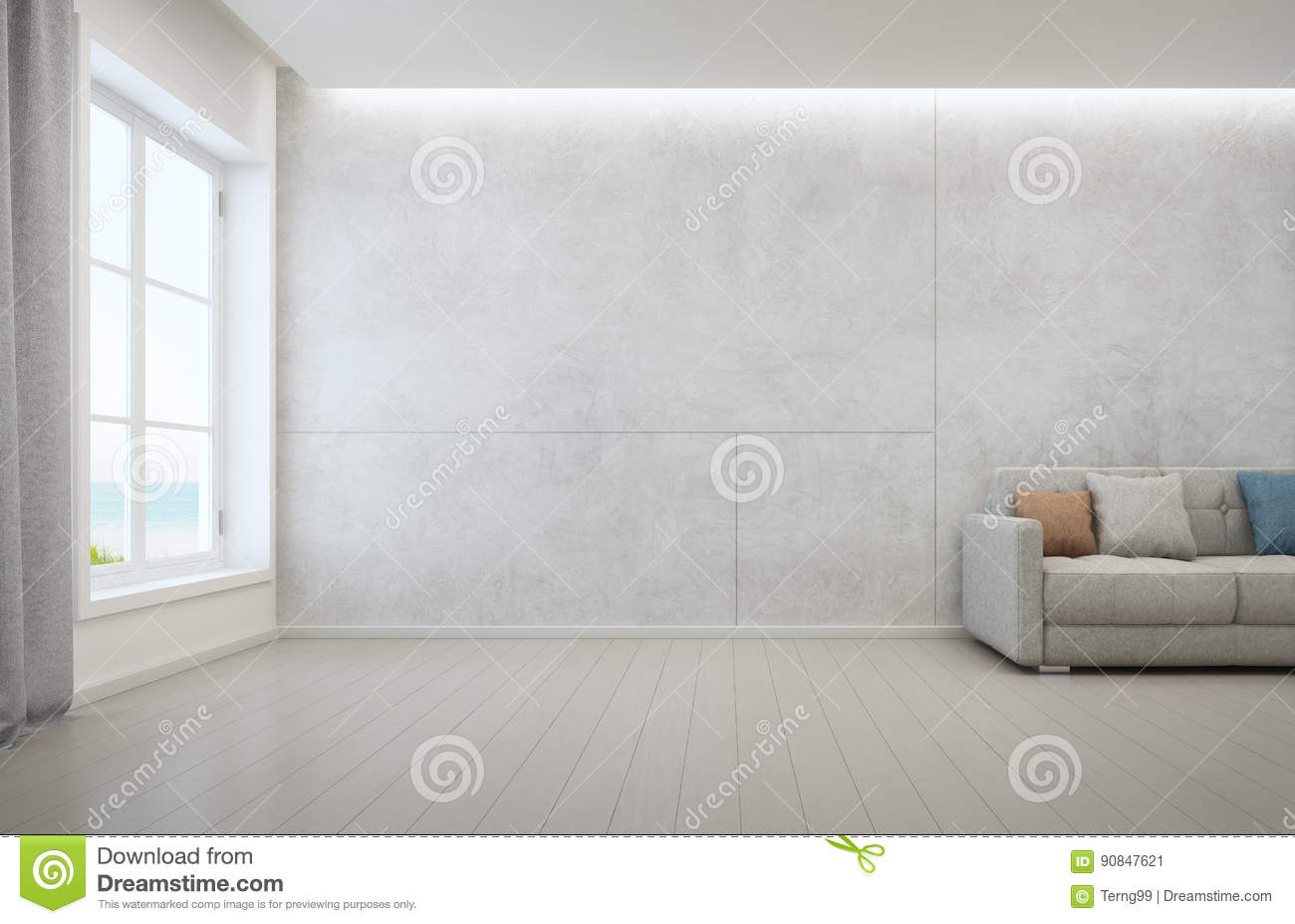 Sea View Living Room With Wooden Floor And Concrete Wall Background