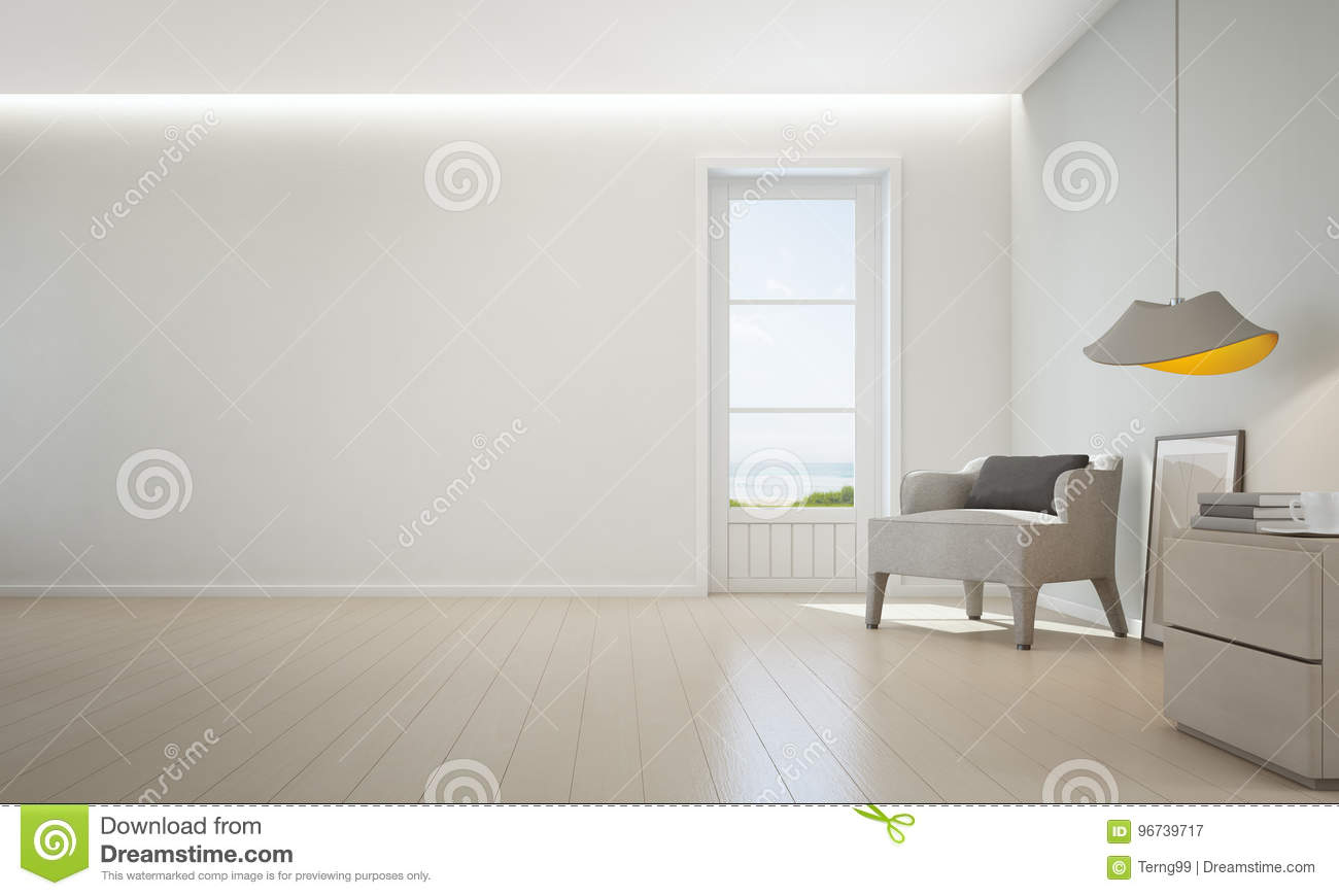 Sea View Living Room With Wooden Floor And Empty White Wall ...