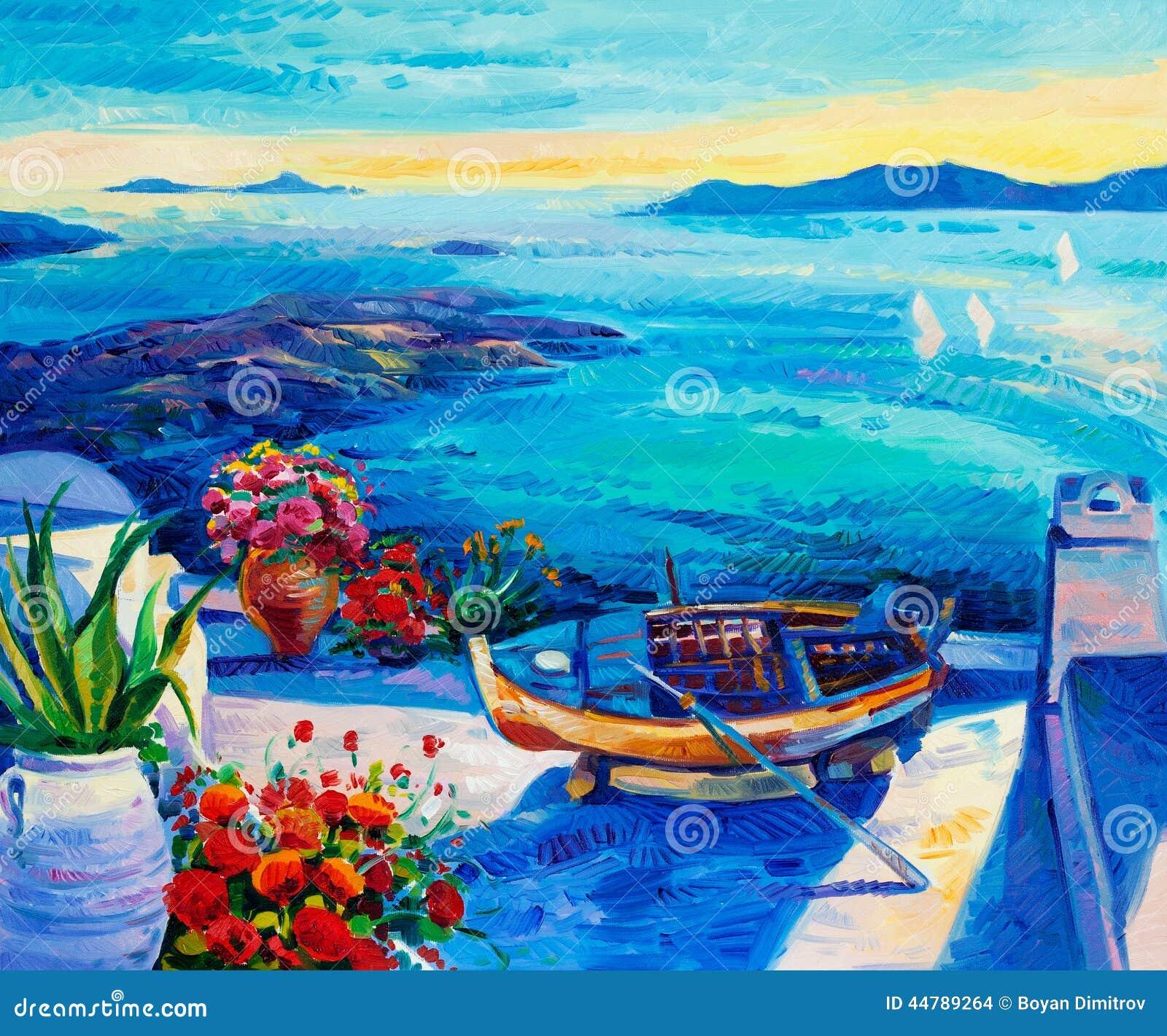 Acrylic Paintings Of Santorini Island