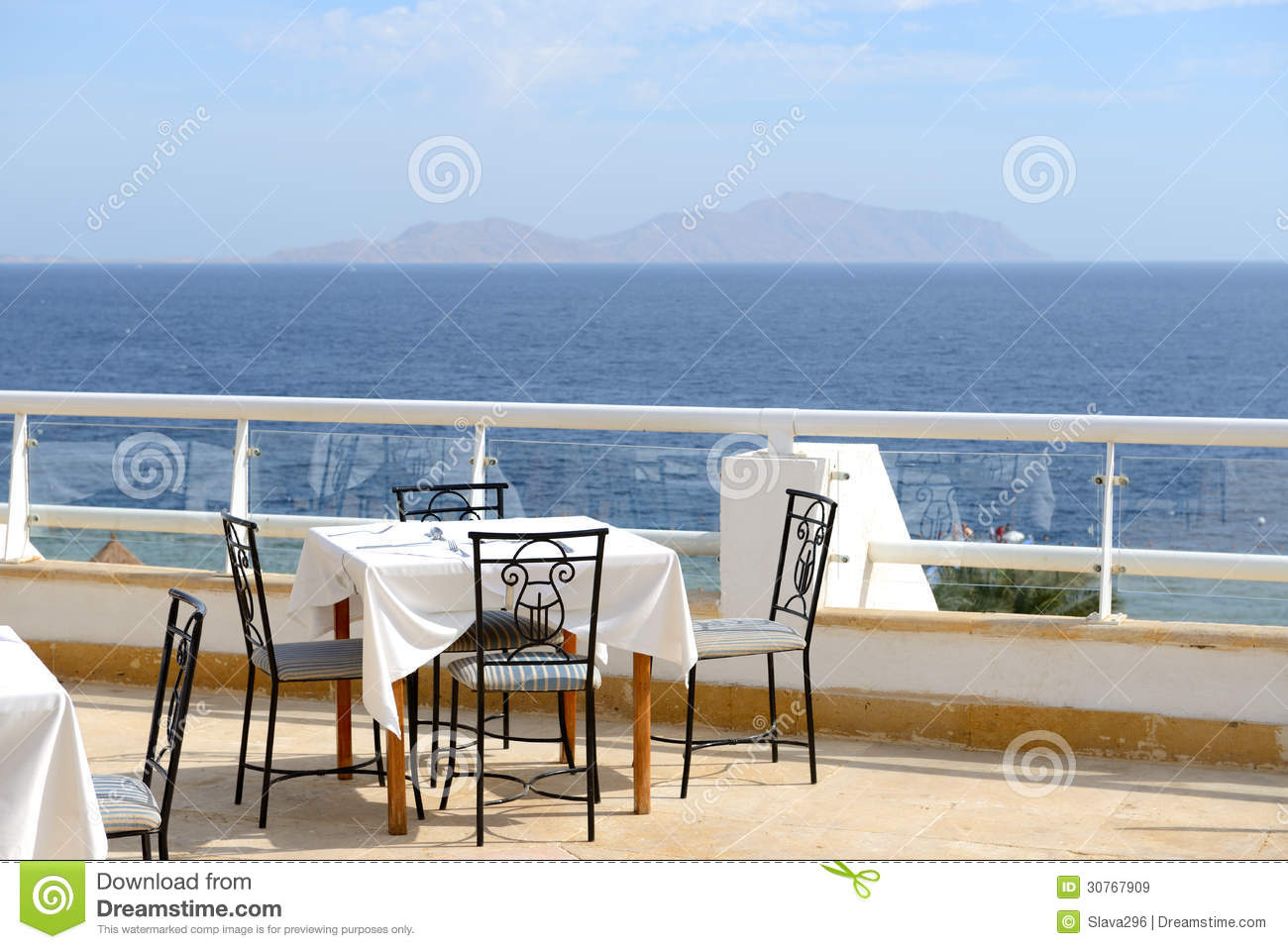 The sea view outdoor terrace of restaurant at luxury hotel for The terrace hotel restaurant