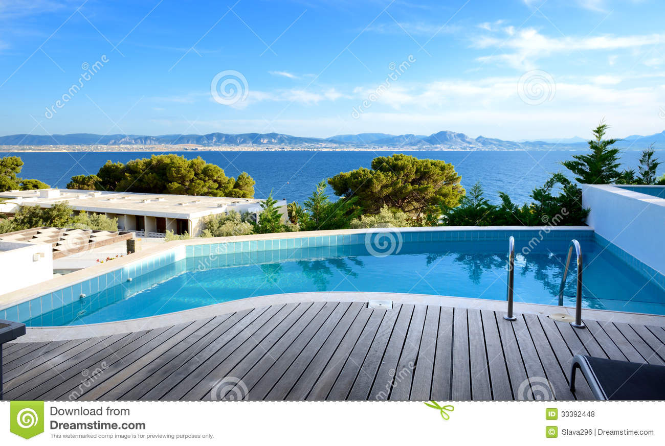 sea view swimming pool in the luxury hotel stock photo image 33392448. Black Bedroom Furniture Sets. Home Design Ideas