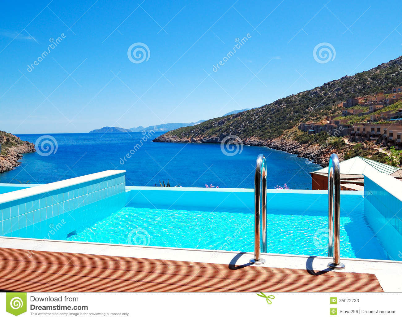 The Sea View Swimming Pool At The Luxury Villa Stock Photos - Image ...