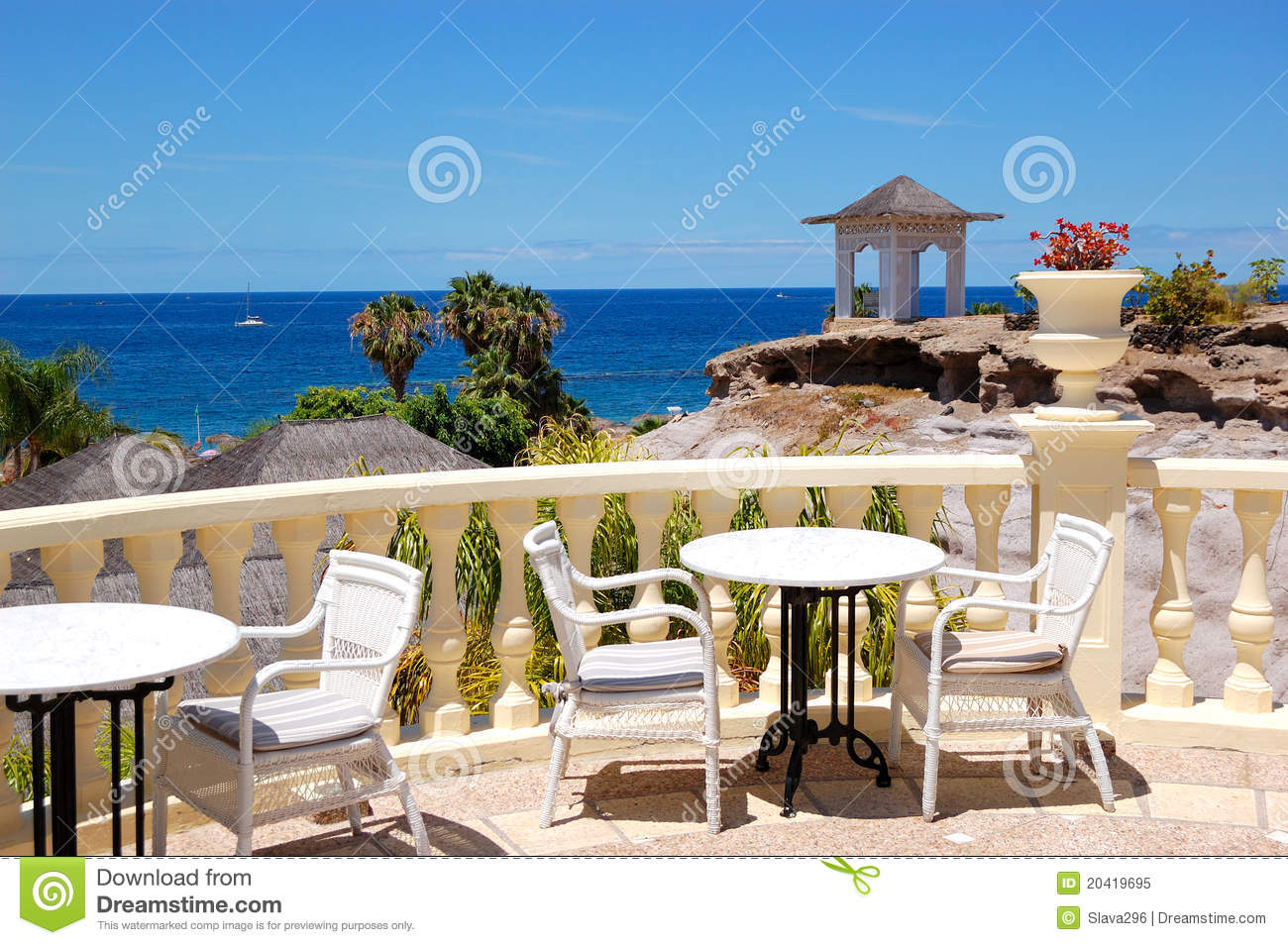 Sea view terrace of the luxury hotel 39 s restaurant royalty for Restaurant with terrace