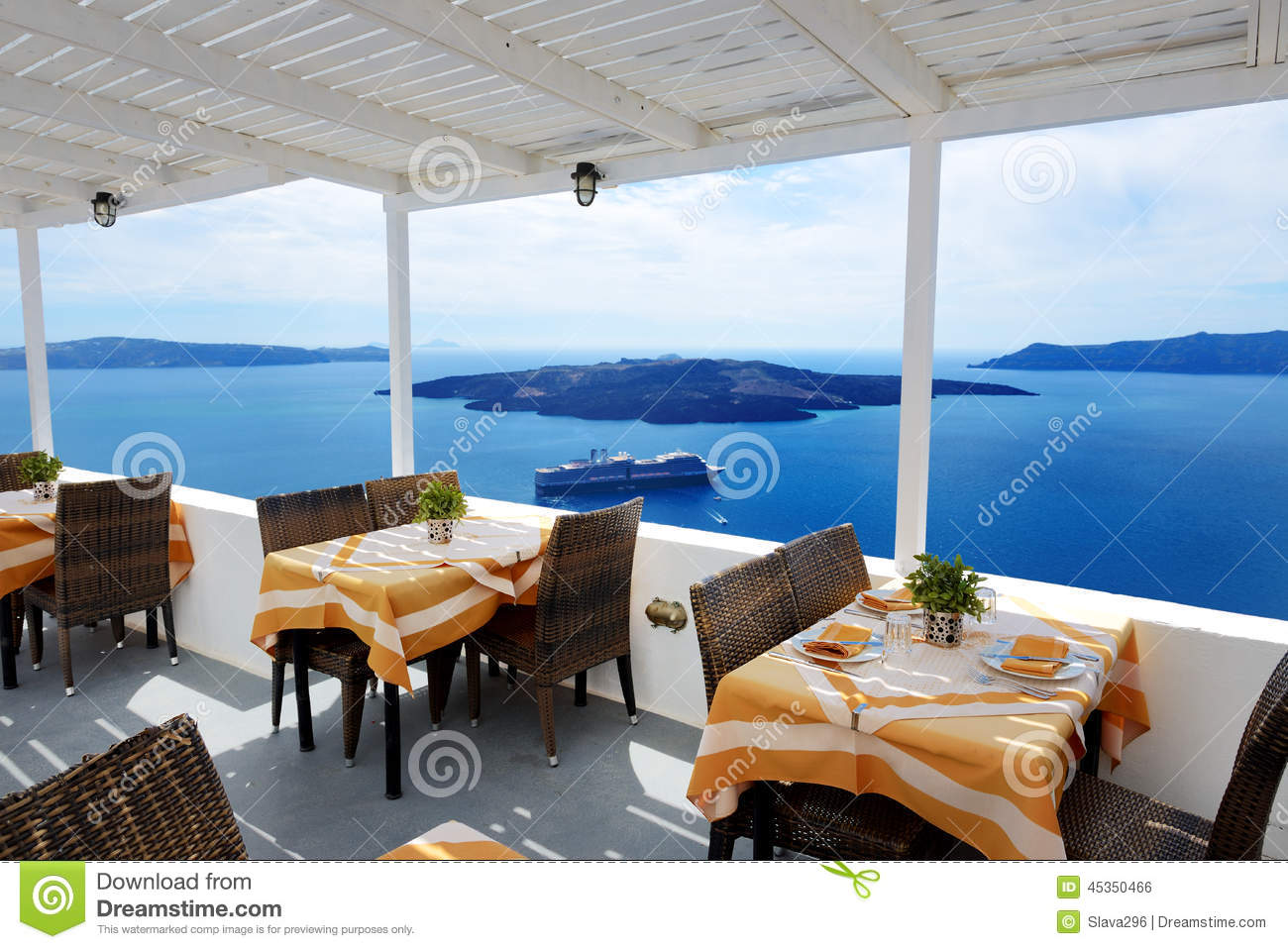 The sea view terrace in restaurant at luxury hotel stock for Terrace hotel restaurant