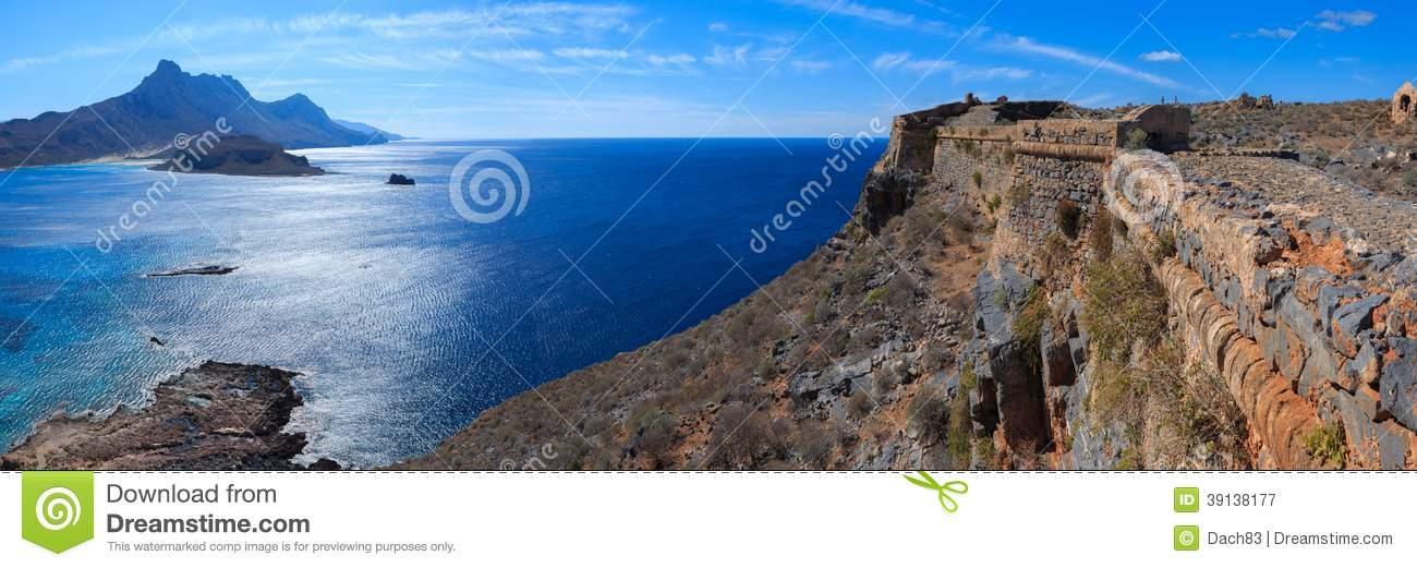 sea view from the top of island gramvousa stock image