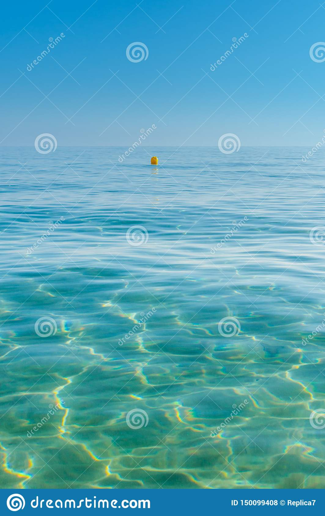Sea Water With Yellow Marker Buoy Stock Photo - Image of