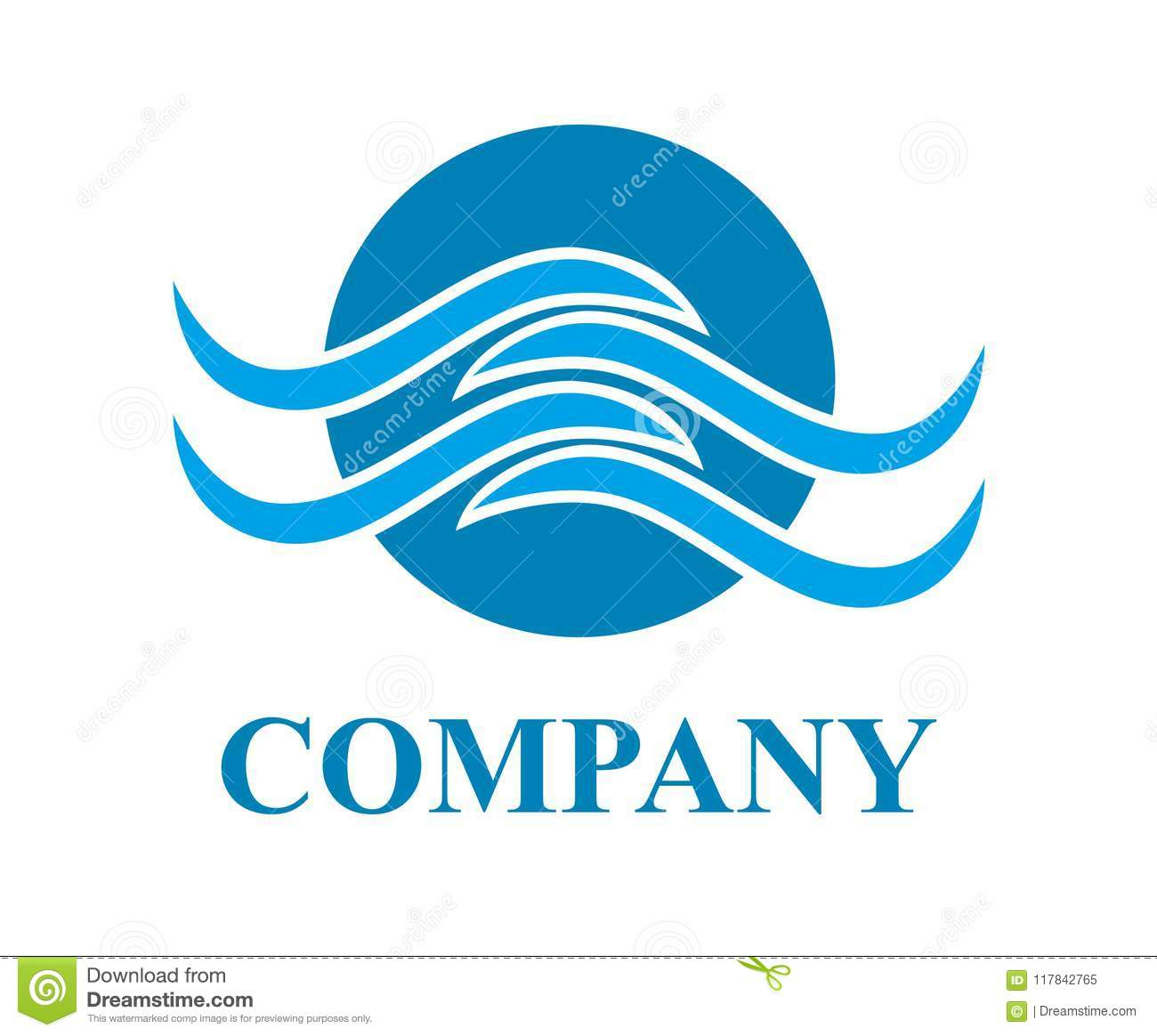 blue sea or ocean water wave beach vector logo design idea template illustration concept with blue color for pool sport water recreation need