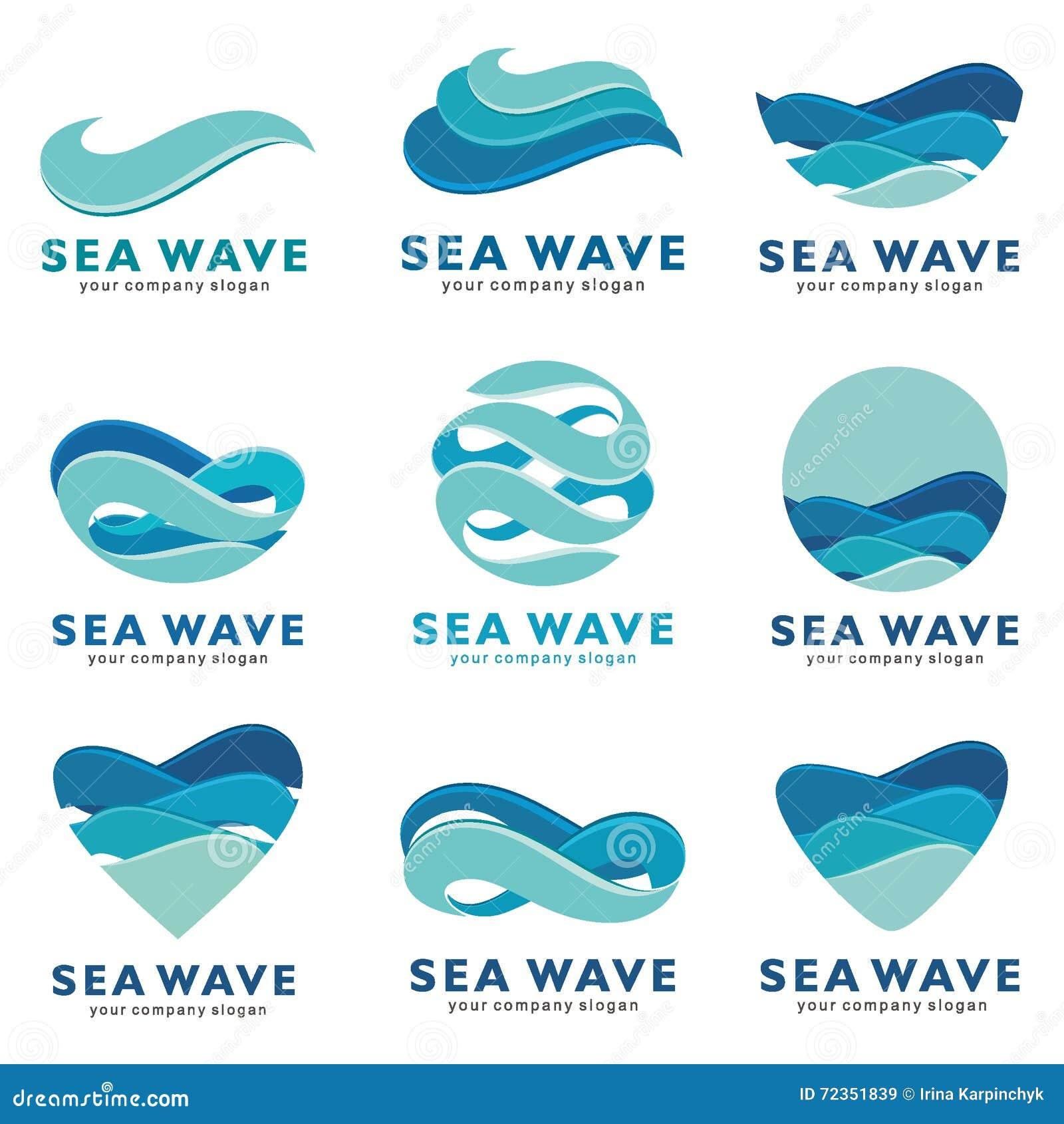 Sea Wave Logo Set. Vector Concept Stock Vector